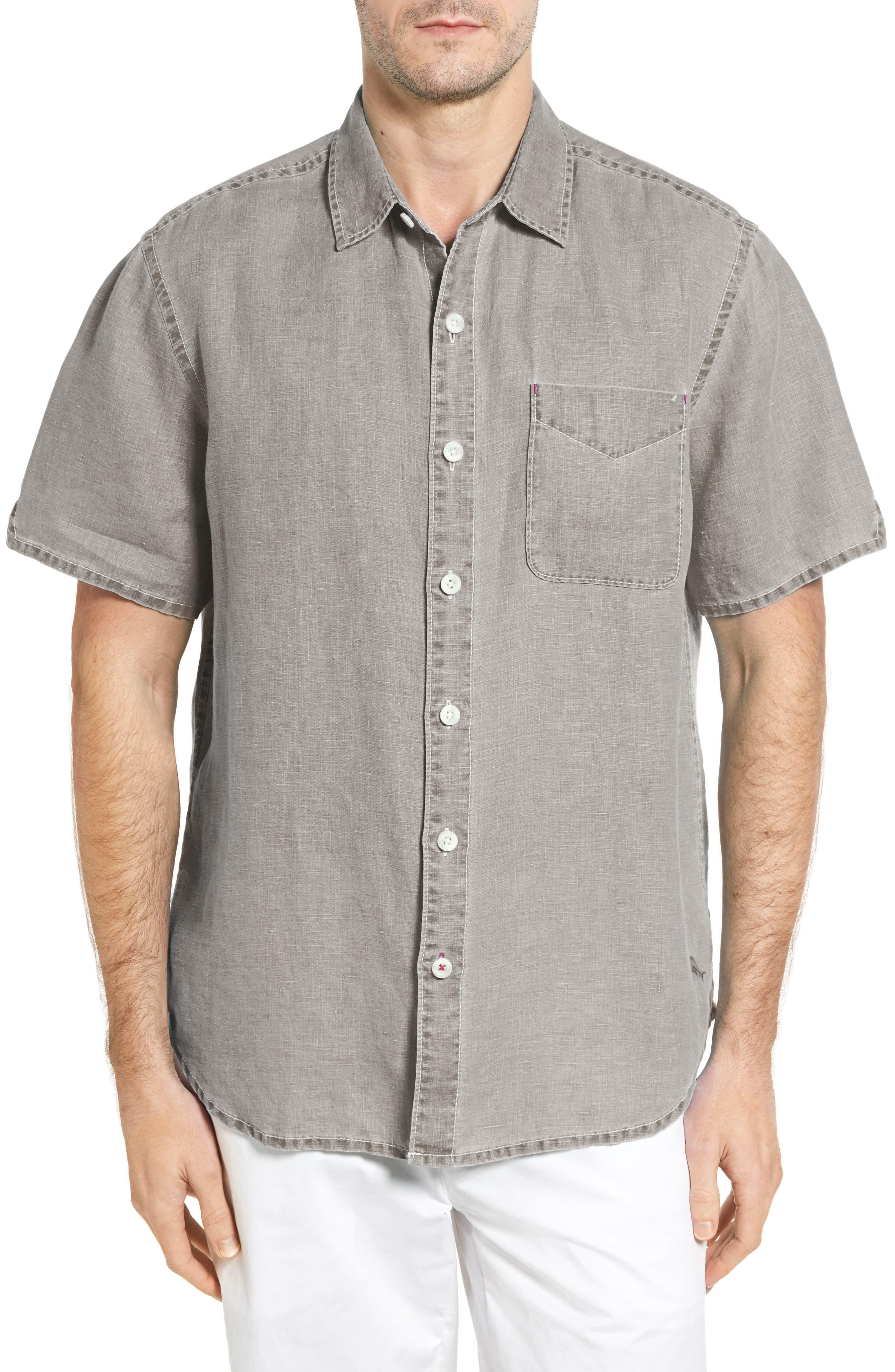 Seaglass Breezer Short Sleeve Linen Sport Shirt,                             Main thumbnail 4, color,