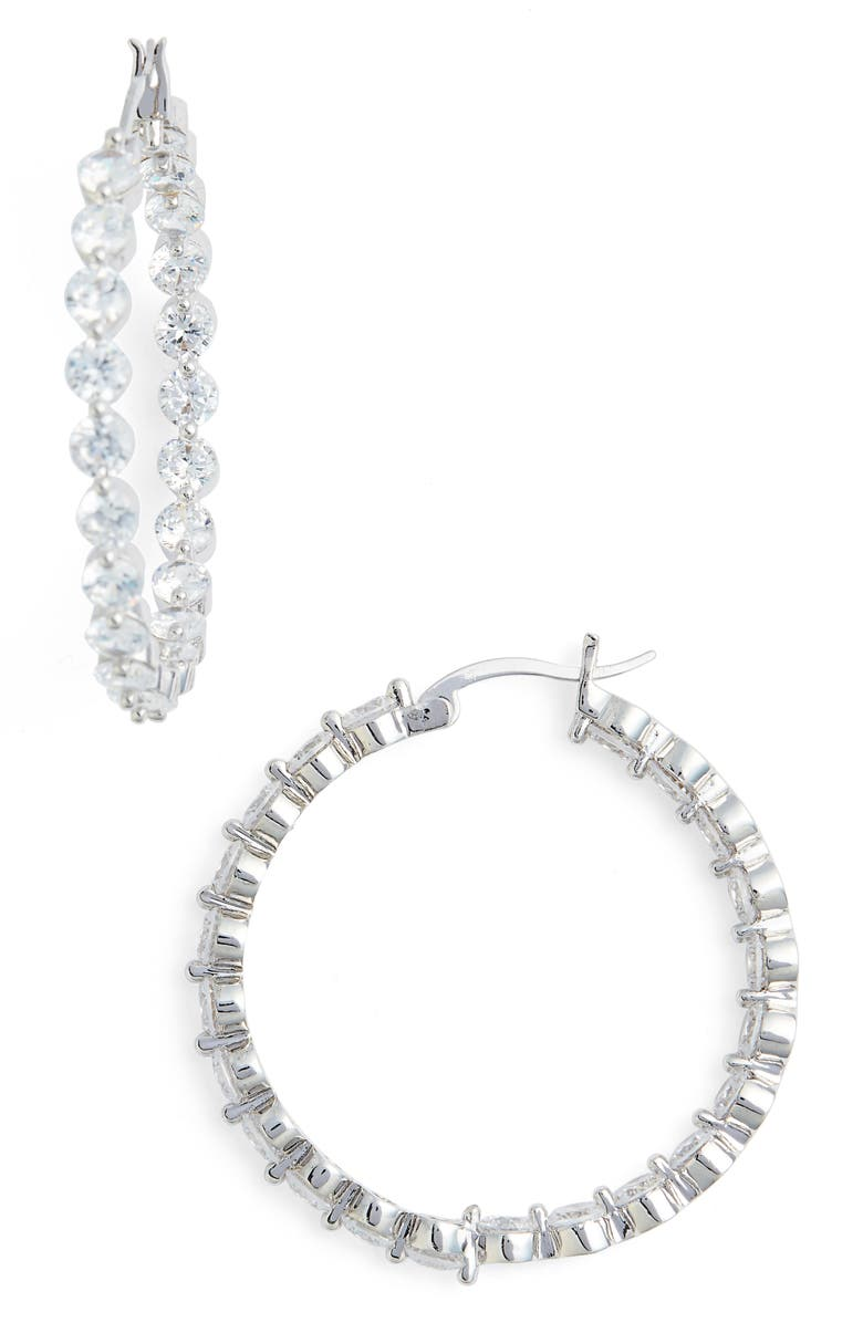 Large Cubic Zirconia Hoop Earrings Main
