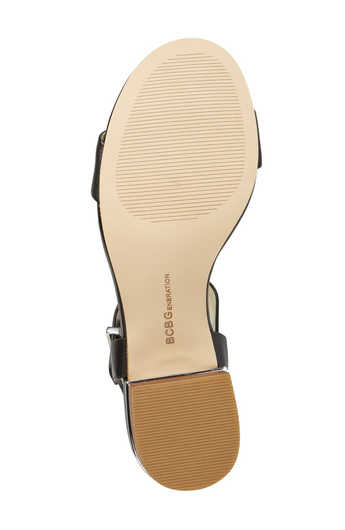 BCBGENERATION,                             'Roger' Block Heel Sandal,                             Alternate thumbnail 4, color,                             001