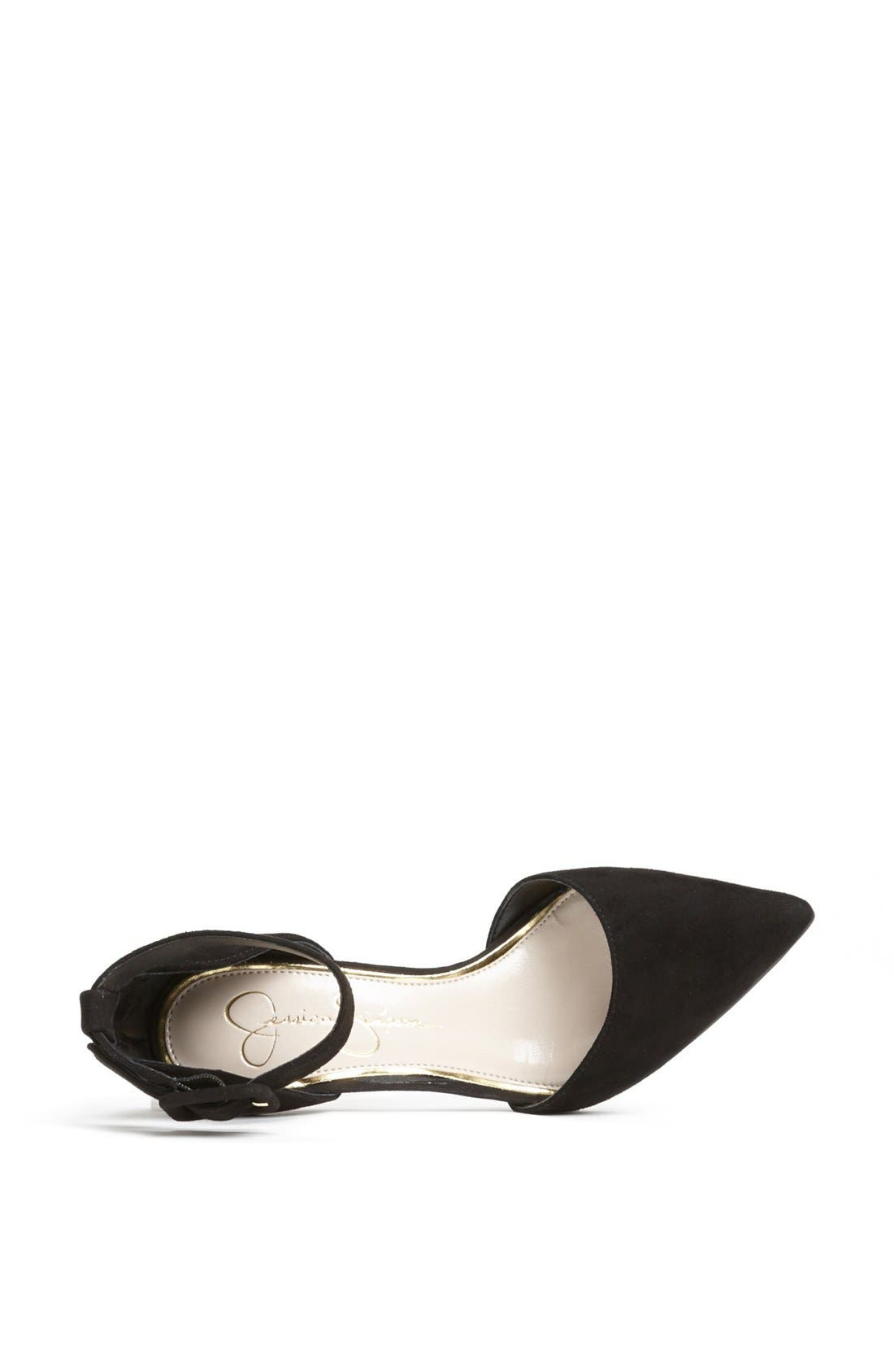 'Cayna' D'Orsay Ankle Strap Pump,                             Alternate thumbnail 3, color,                             001