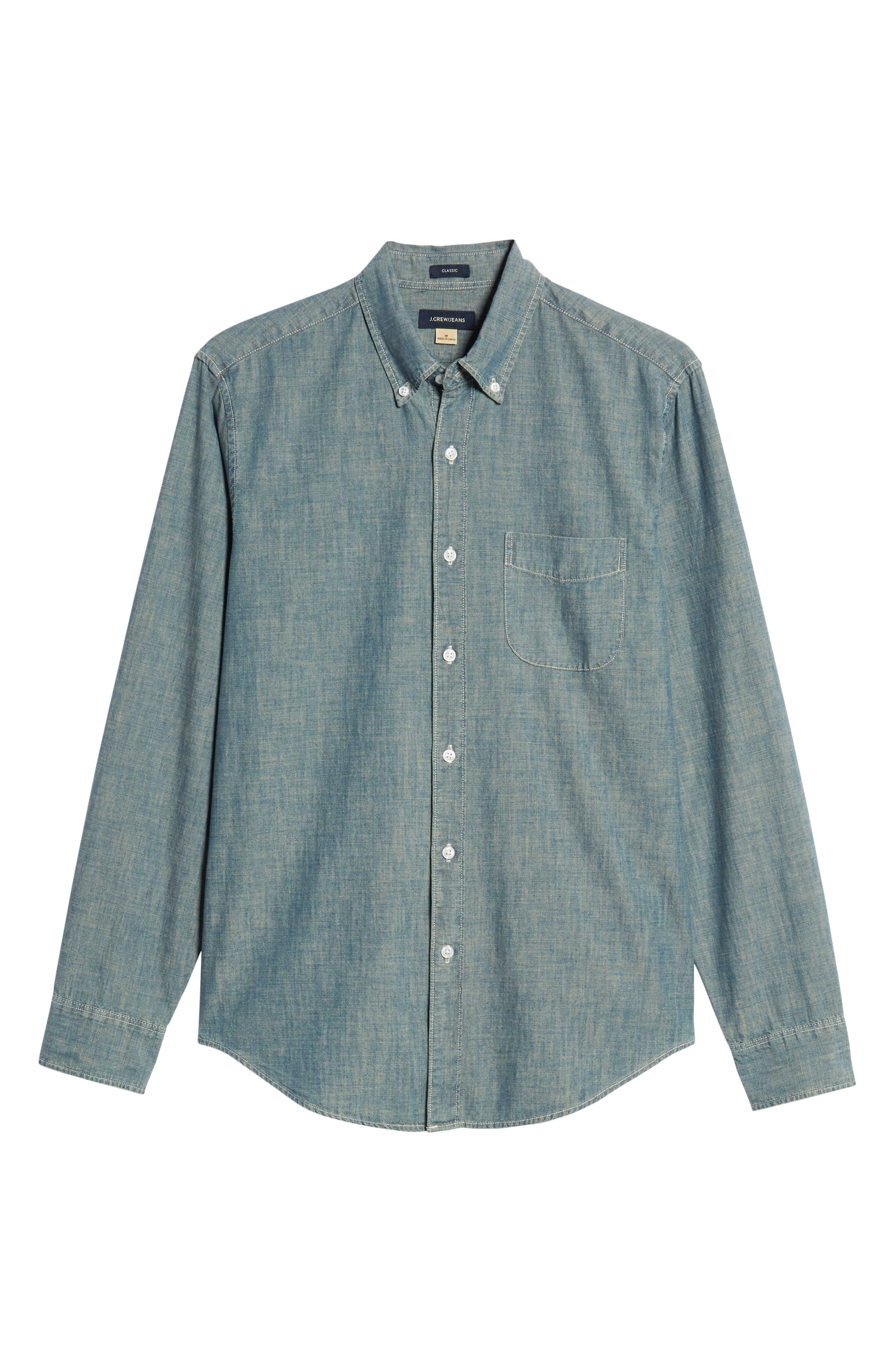 Slim Fit Indigo Japanese Chambray Shirt,                             Alternate thumbnail 5, color,                             INDIGO