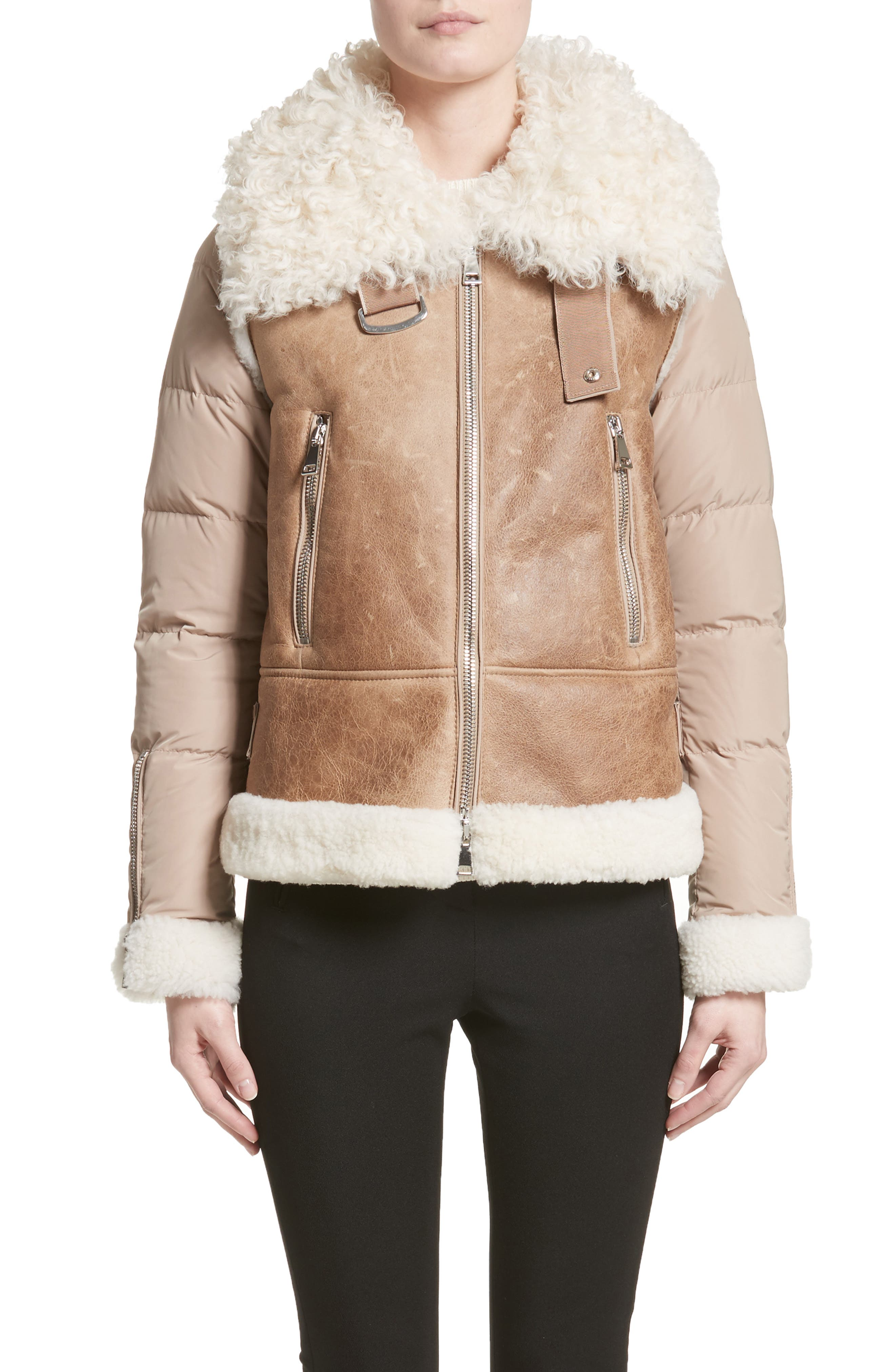Moncler Kilia Genuine Shearling & Down Puffer Jacket, Brown