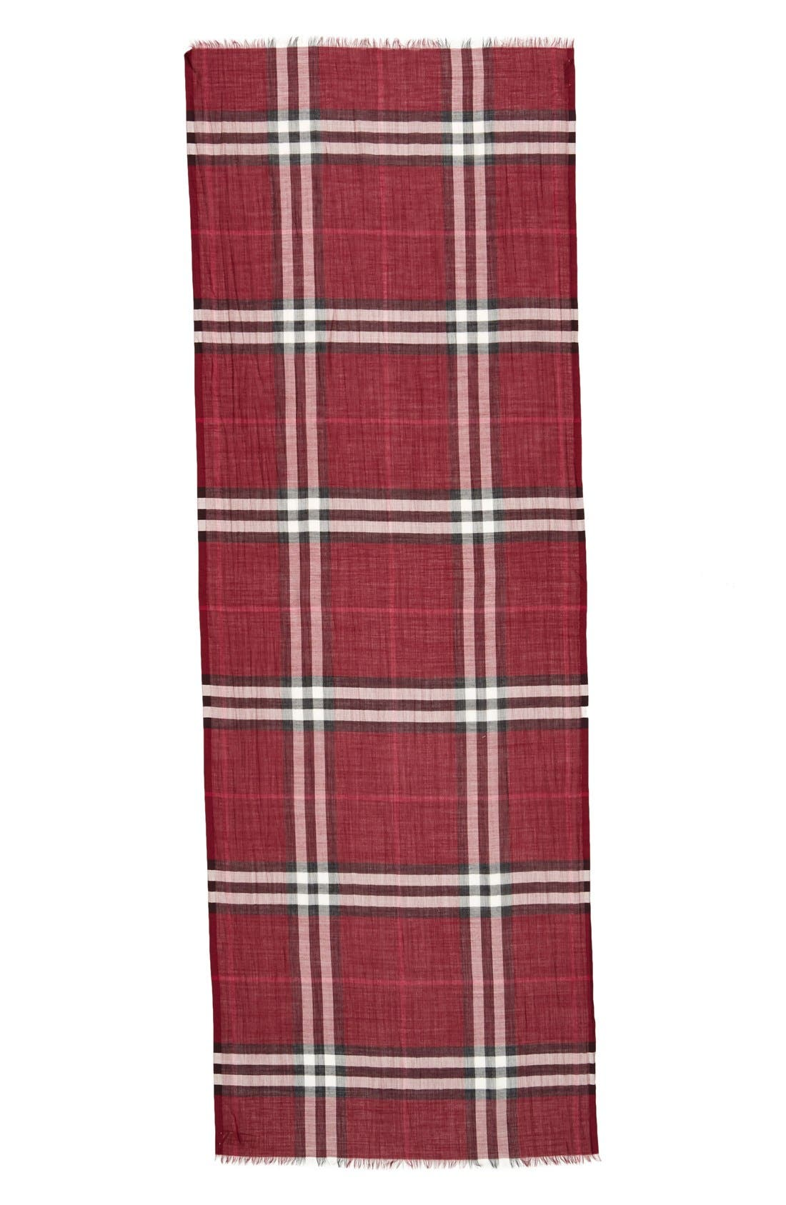 Giant Check Print Wool & Silk Scarf,                             Alternate thumbnail 105, color,