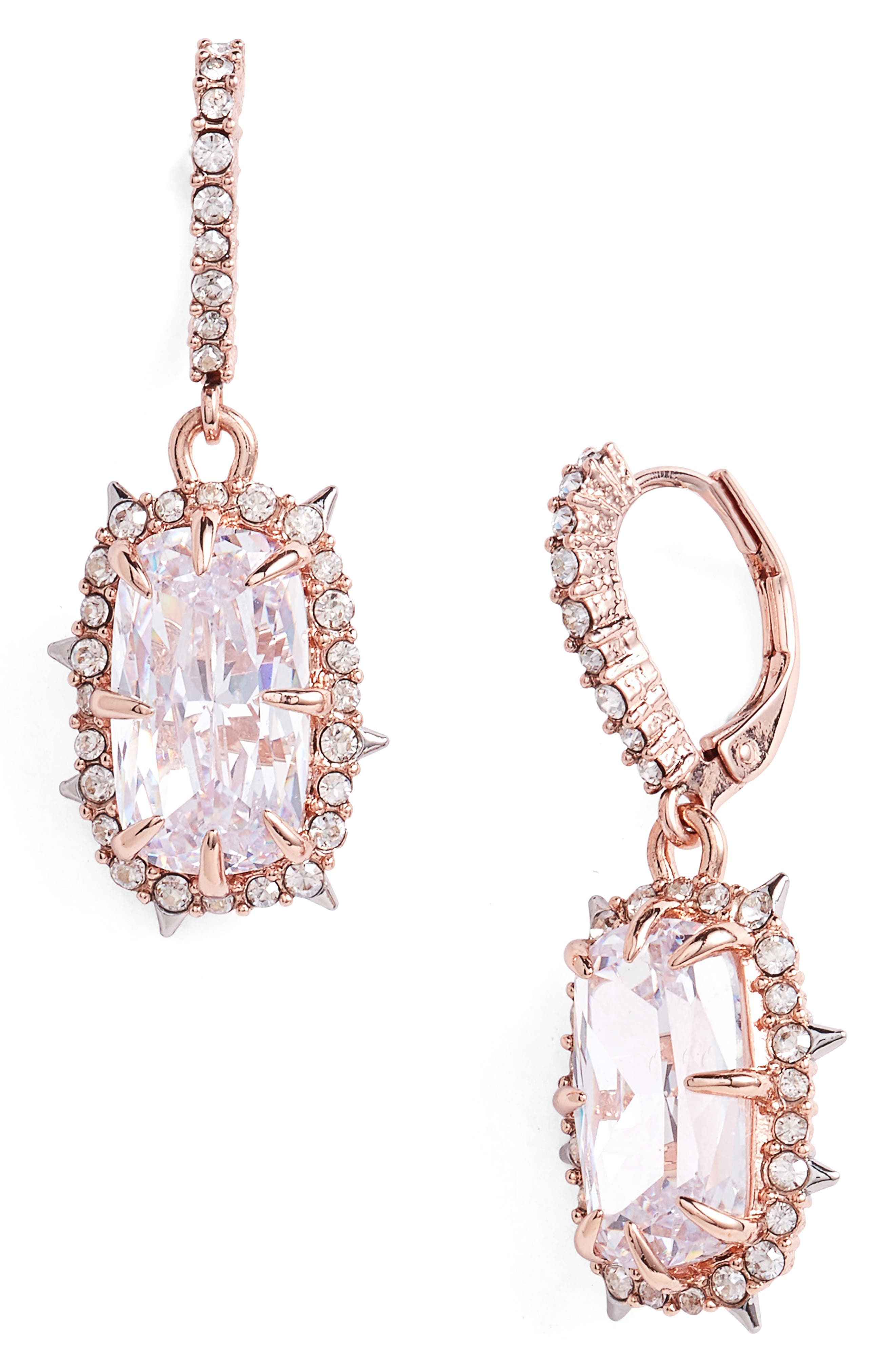 Crystal Drop Earrings,                         Main,                         color, ROSE GOLD