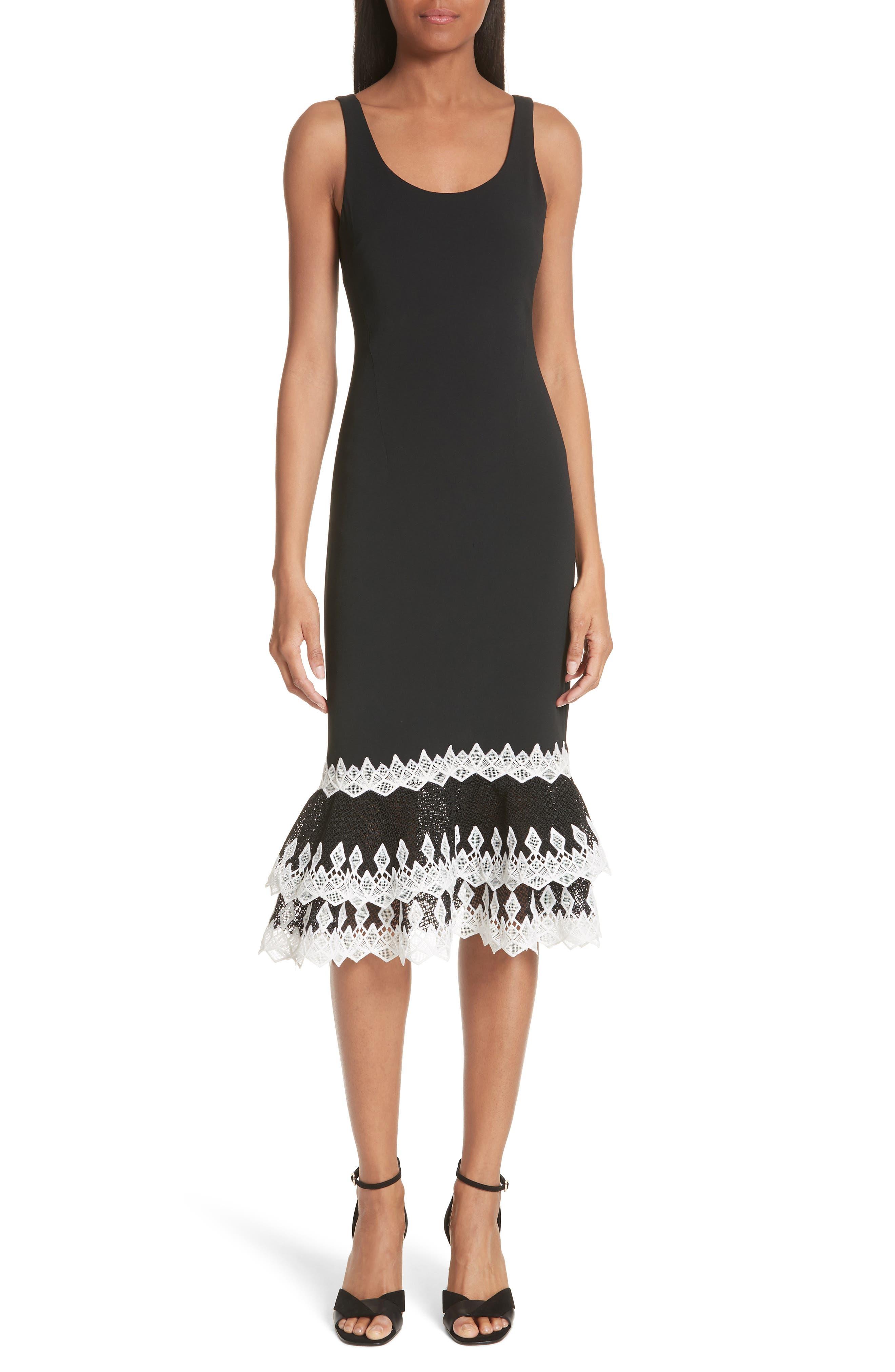 Jonathan Simkhai Diamond Crepe Applique Dress, Black