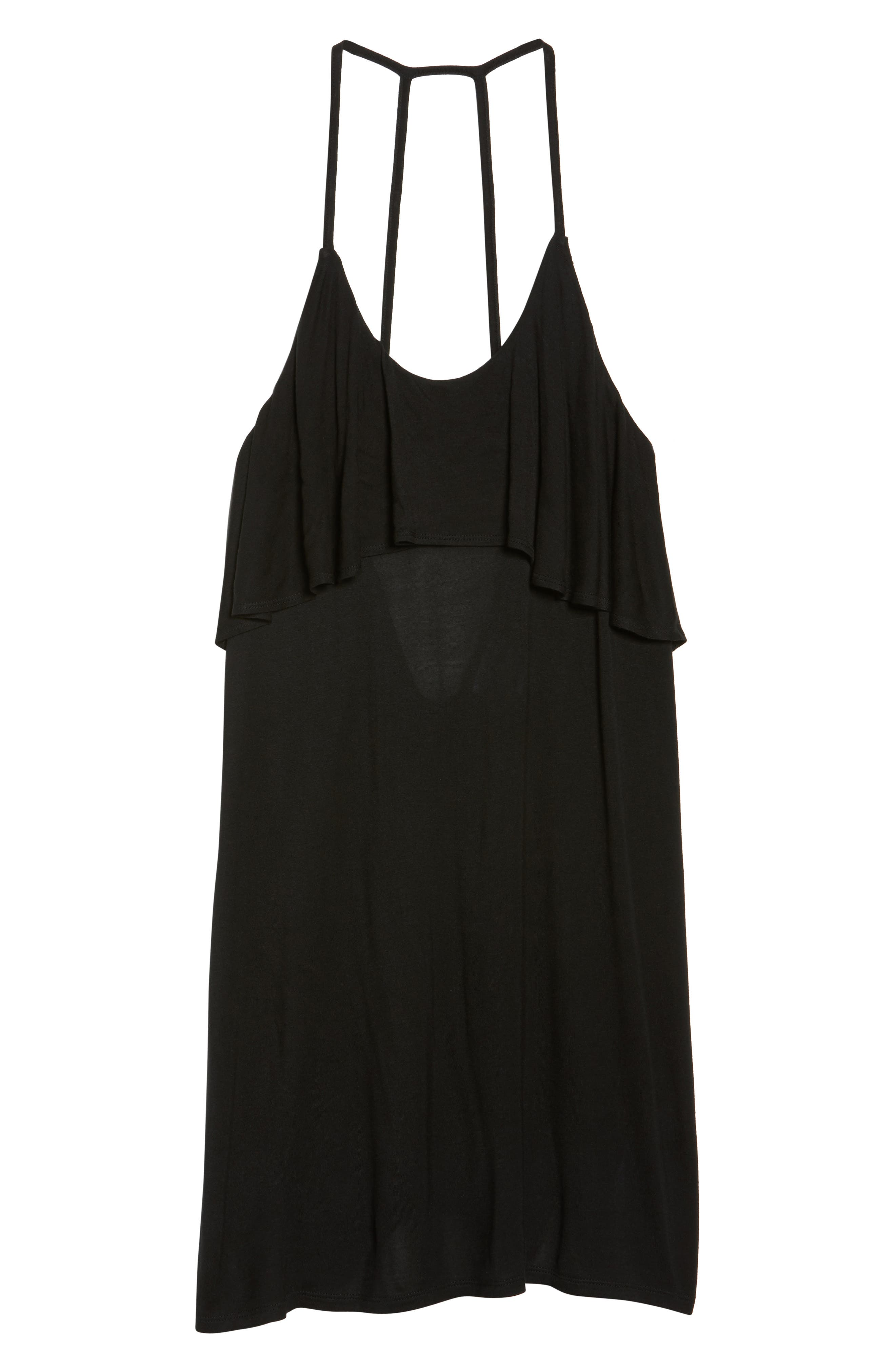 Ruffle Cover-Up Dress,                             Alternate thumbnail 6, color,                             BLACK