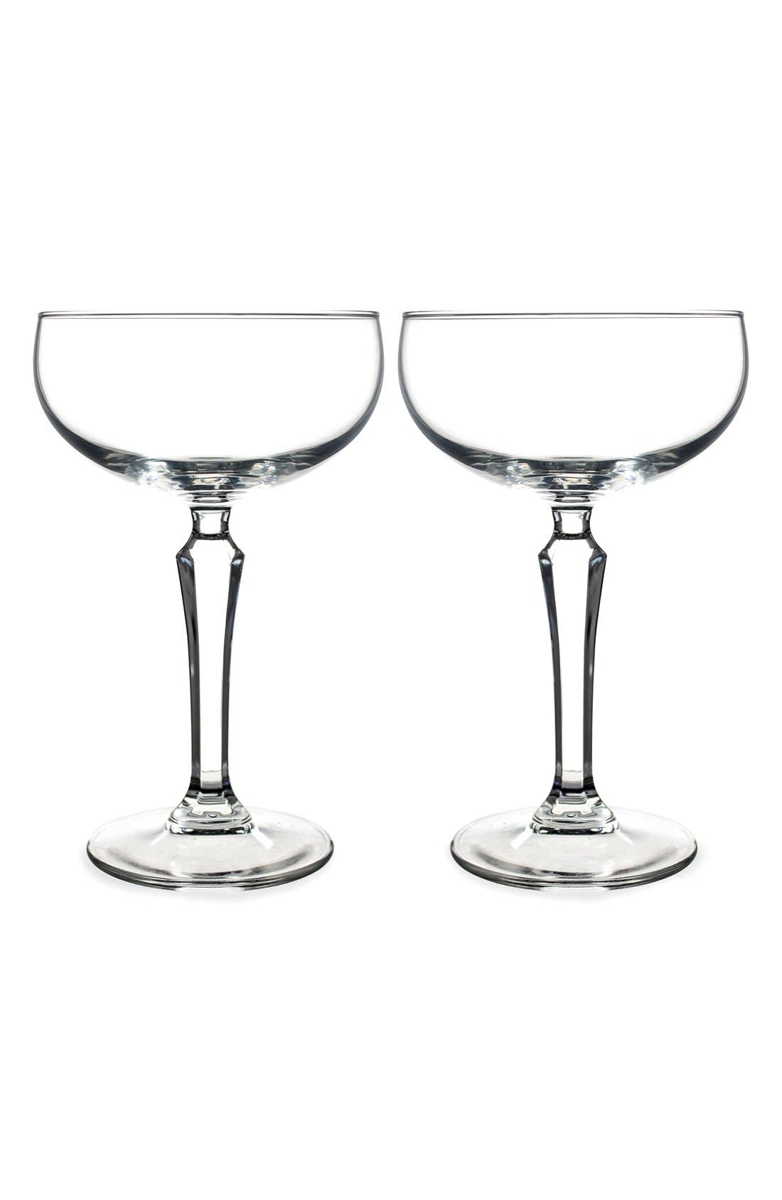 Monogram Coupe Cocktail/Champagne Glasses,                             Main thumbnail 2, color,