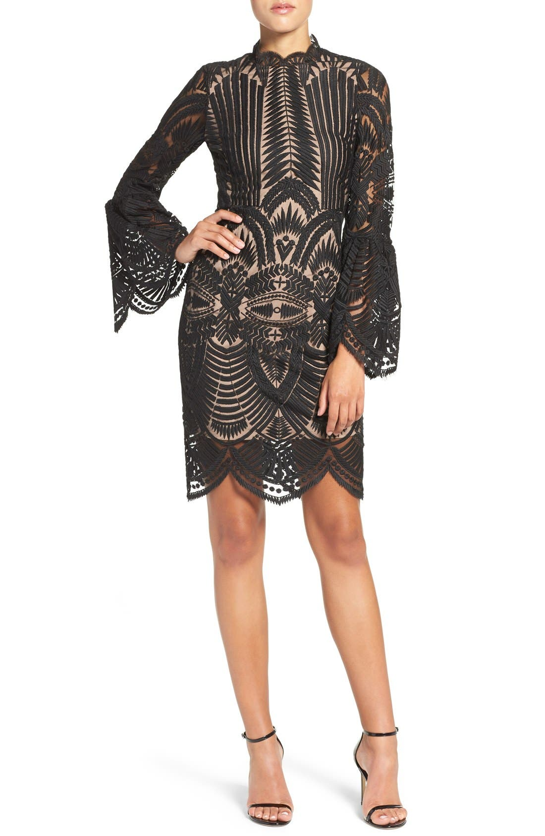 'Emmie' Bell Sleeve Lace Sheath Dress,                             Alternate thumbnail 2, color,                             001
