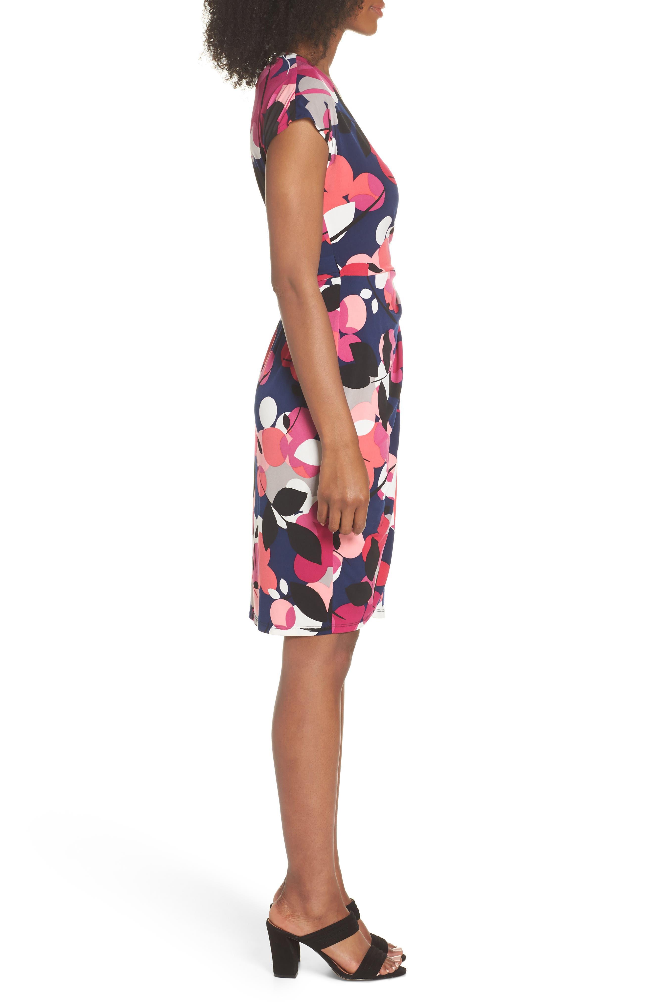 Berry Floral Wrap Dress,                             Alternate thumbnail 3, color,                             402