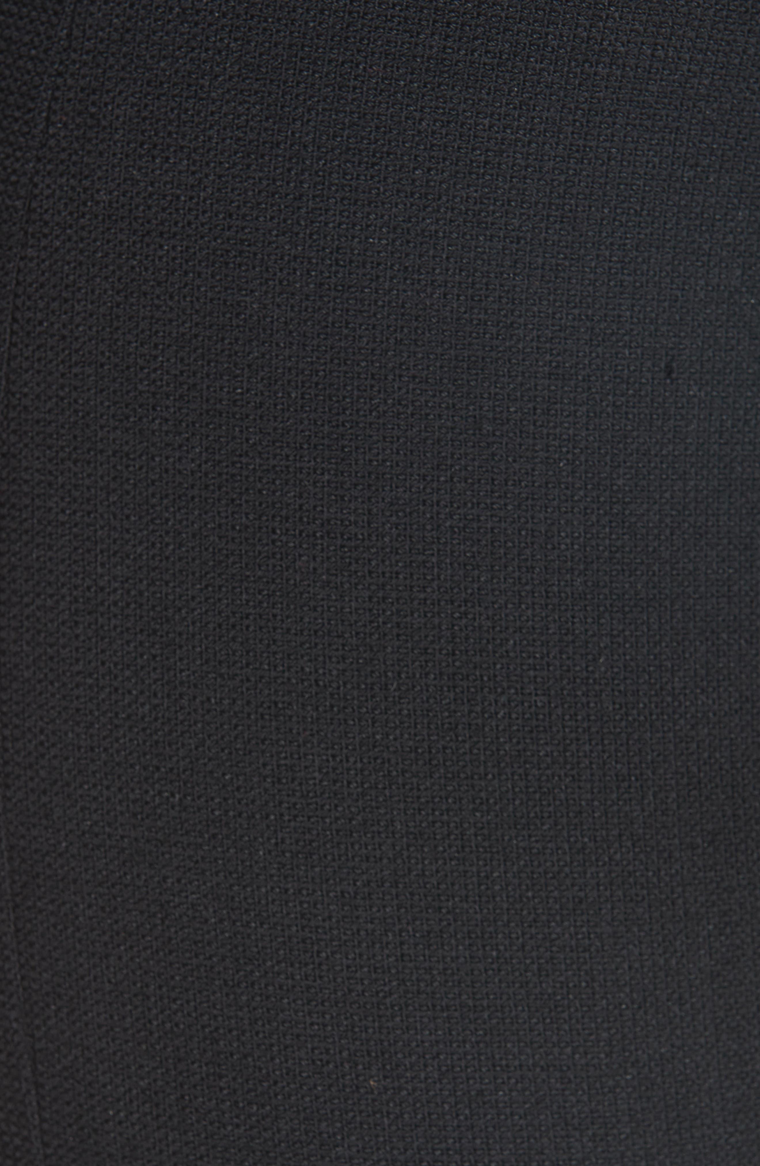 Pull-On Wool Blend Crop Flare Pants,                             Alternate thumbnail 5, color,                             BLACK PIQUE