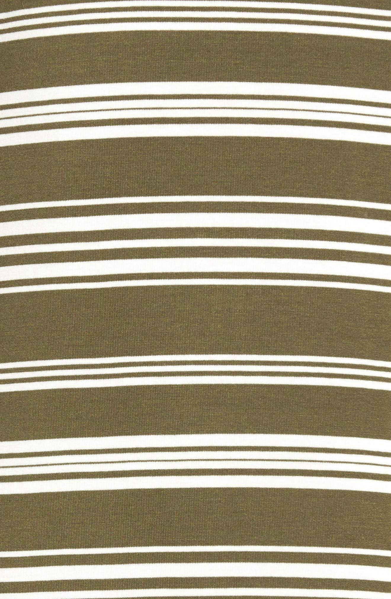 Stripe T-Shirt Dress,                             Alternate thumbnail 5, color,                             OLIVE/ IVORY