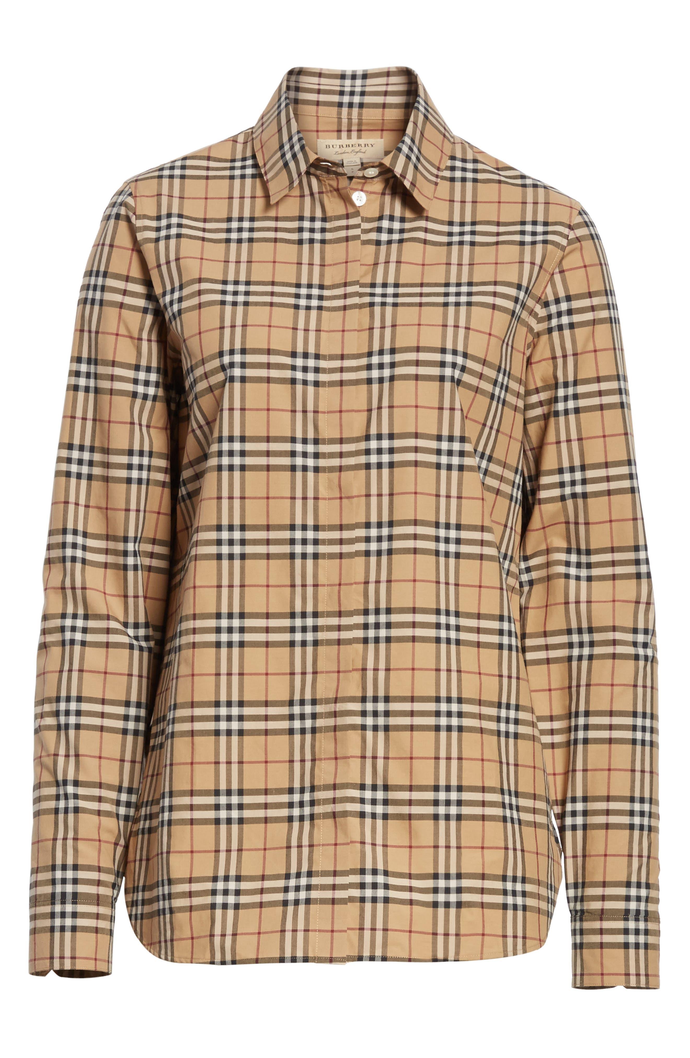 Vintage Check Cotton Shirt,                             Alternate thumbnail 6, color,                             231