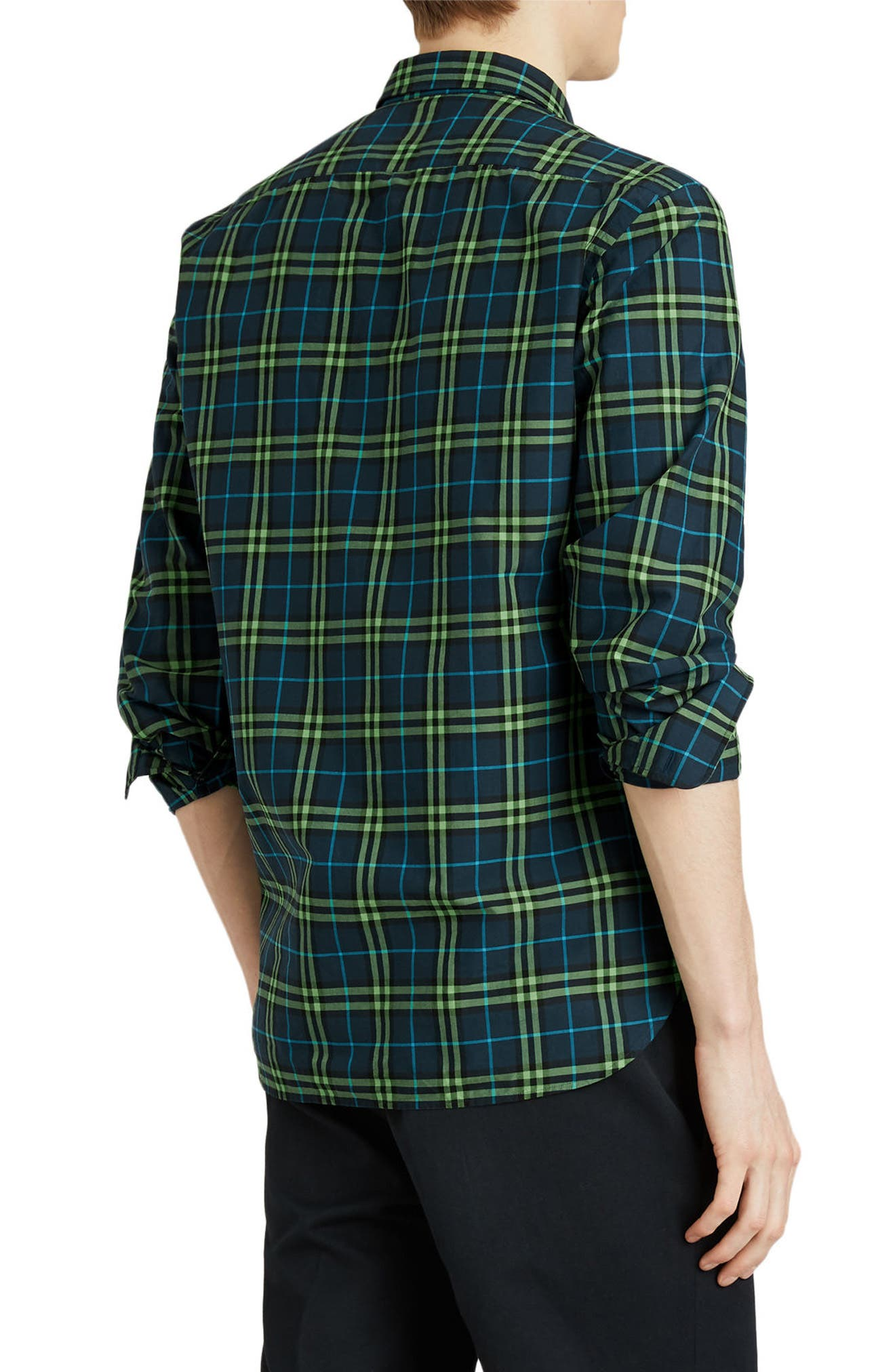 BURBERRY,                             Alexander Woven Check Sport Shirt,                             Alternate thumbnail 4, color,                             400