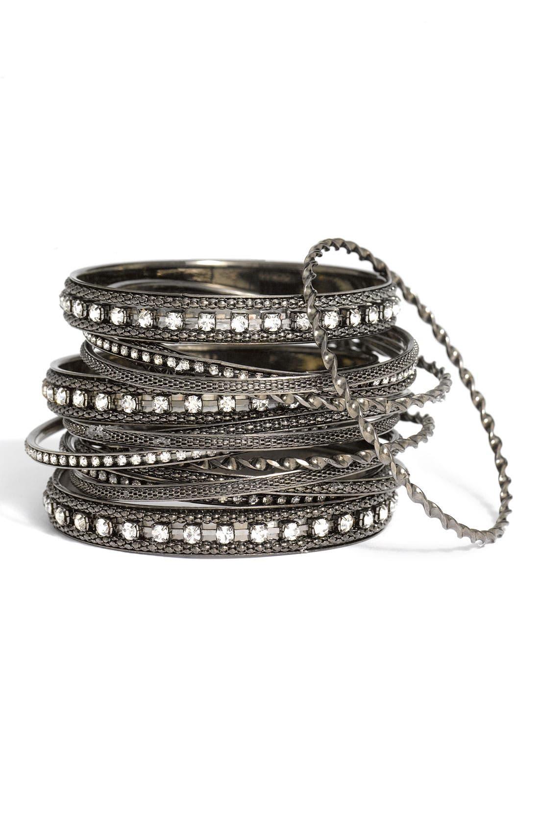 CARA Accessories Metal & Crystal Bangles, Main, color, 001