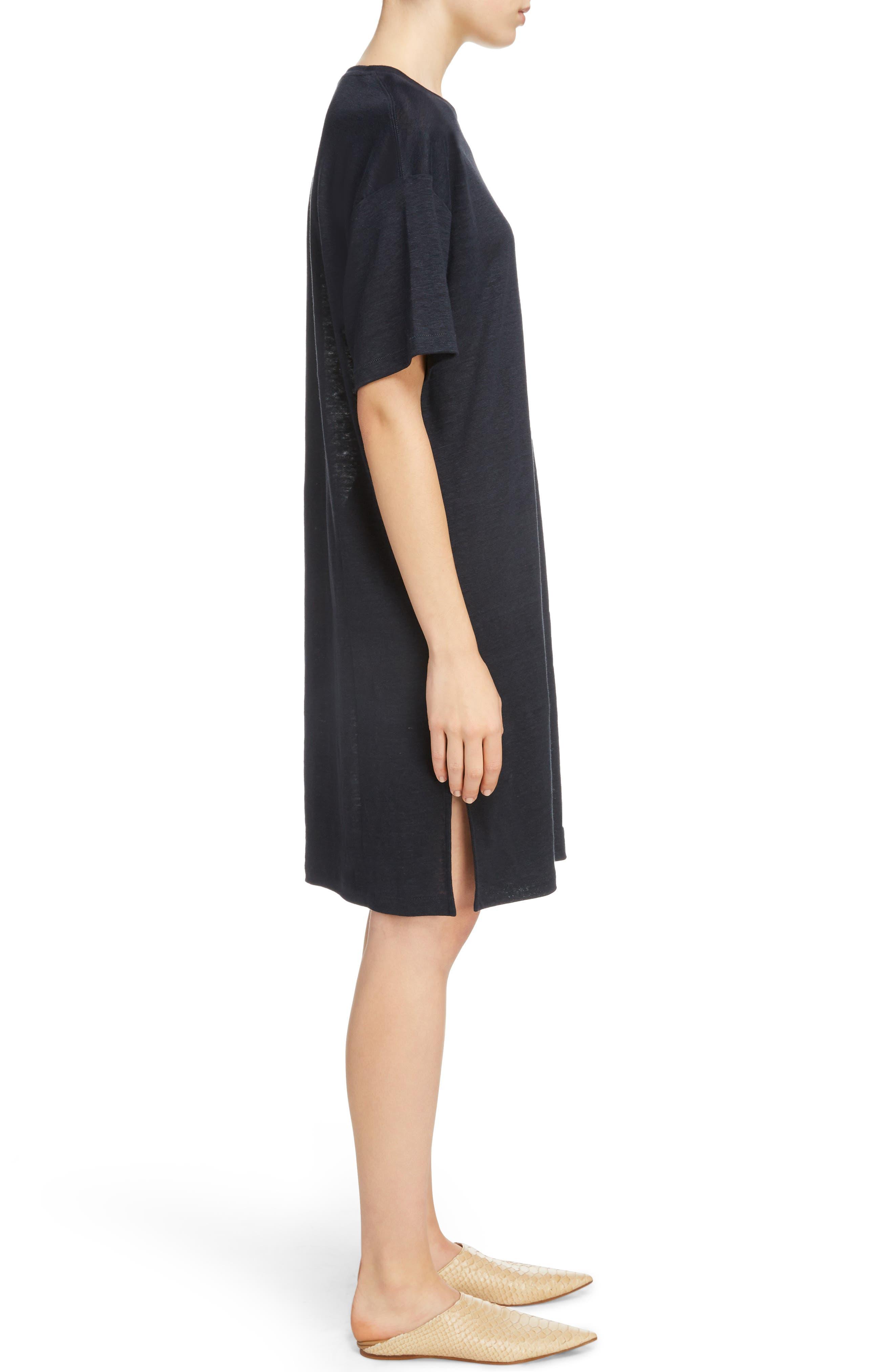 Saga Linen T-Shirt Dress,                             Alternate thumbnail 3, color,                             001