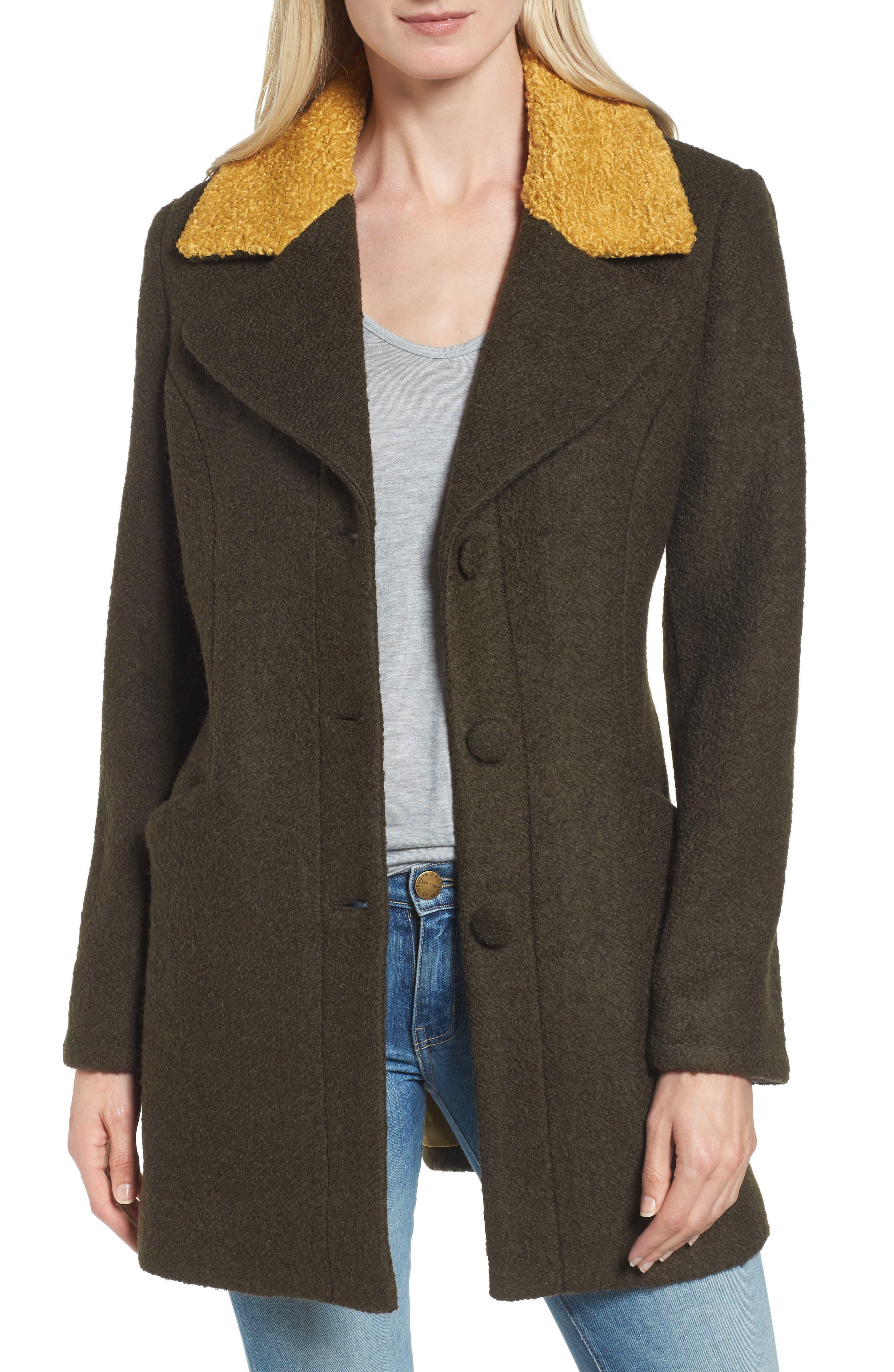 Contrast Collar Bouclé Coat,                             Main thumbnail 2, color,