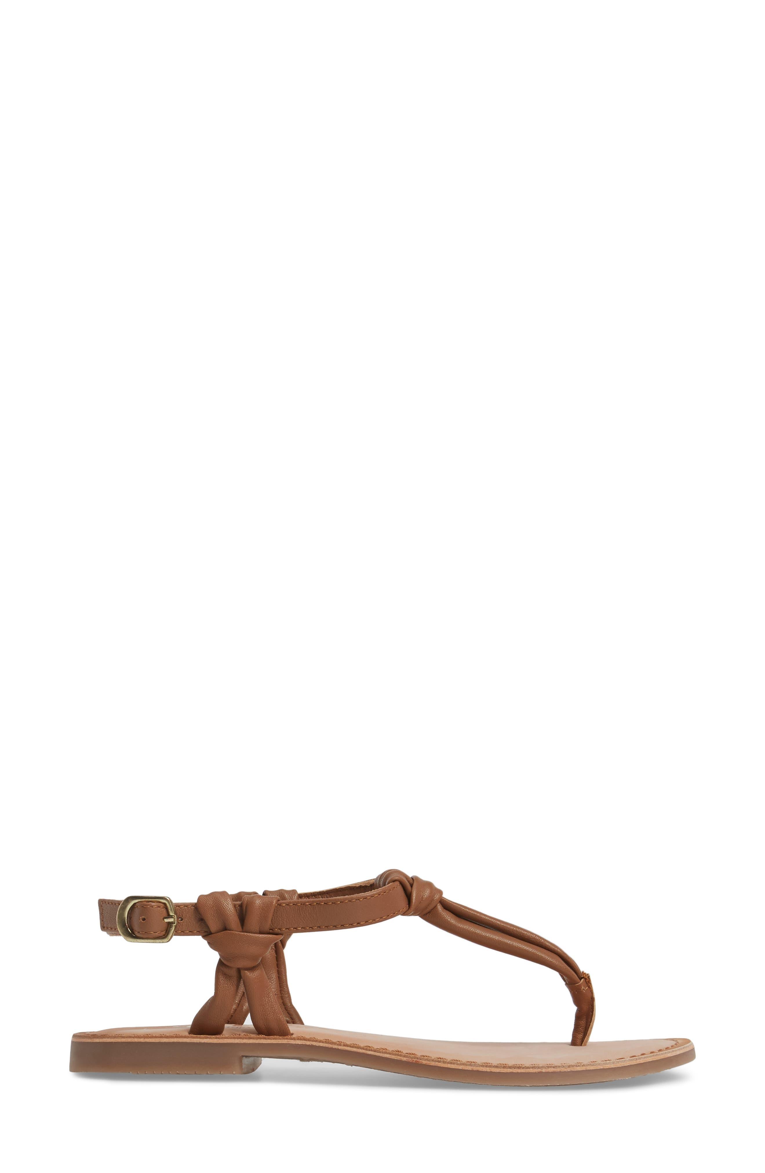 Azza T-Strap Sandal,                             Alternate thumbnail 3, color,                             TAN LEATHER