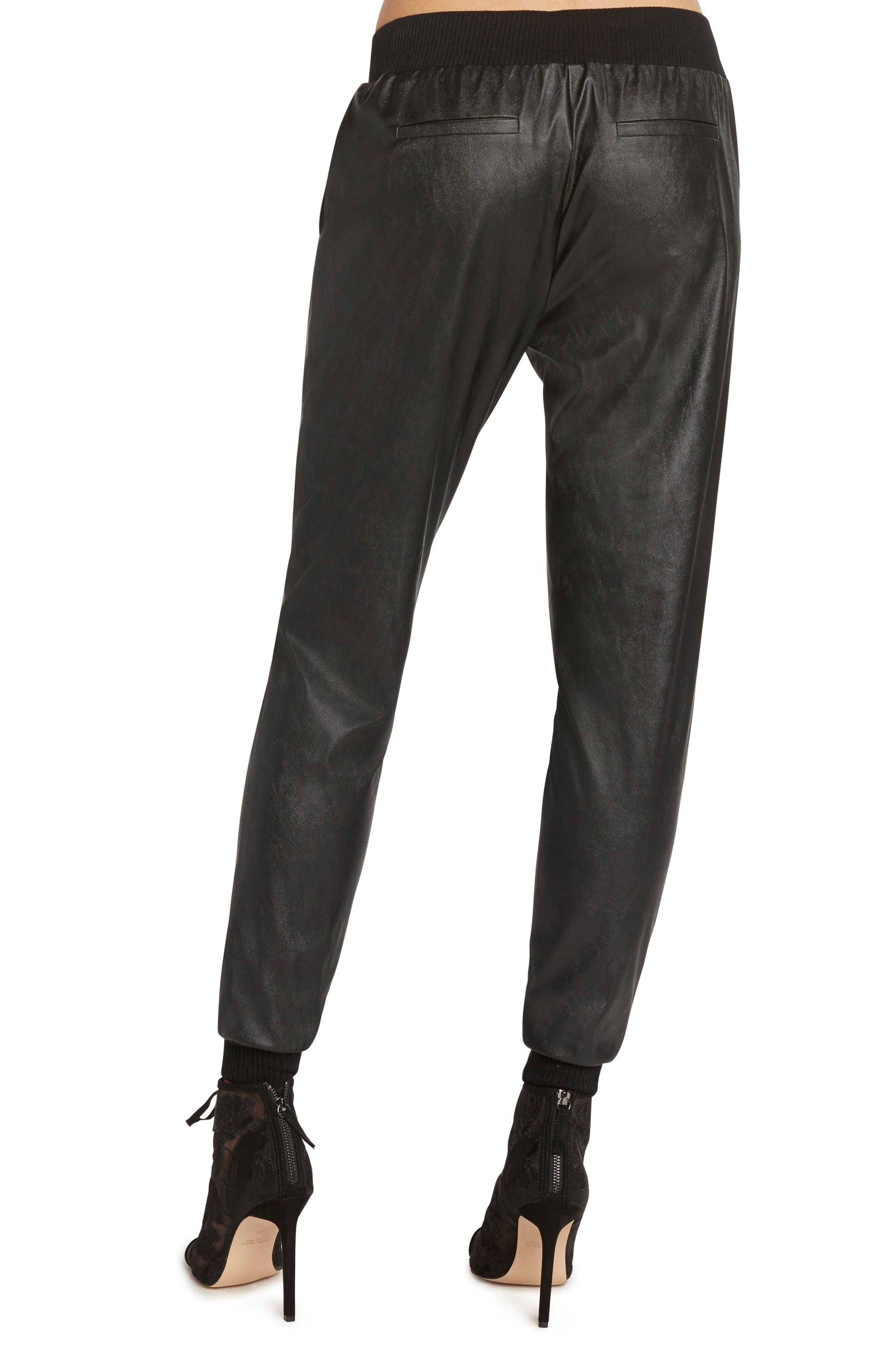 Faux Leather Jogger Pants,                             Alternate thumbnail 2, color,                             BLACK