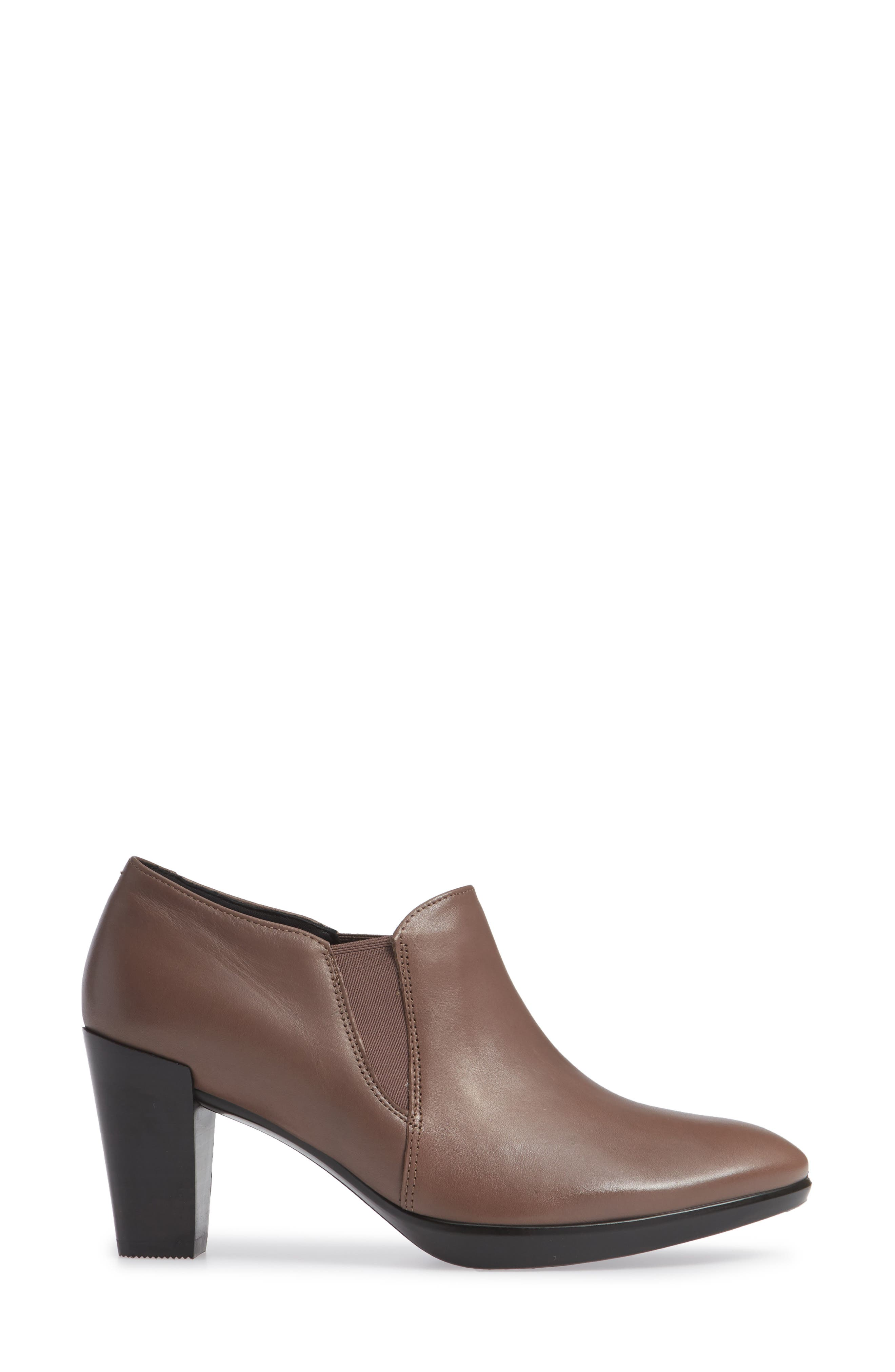 Shape 55 Plateau Stack Bootie,                             Alternate thumbnail 3, color,                             DEEP TAUPE LEATHER