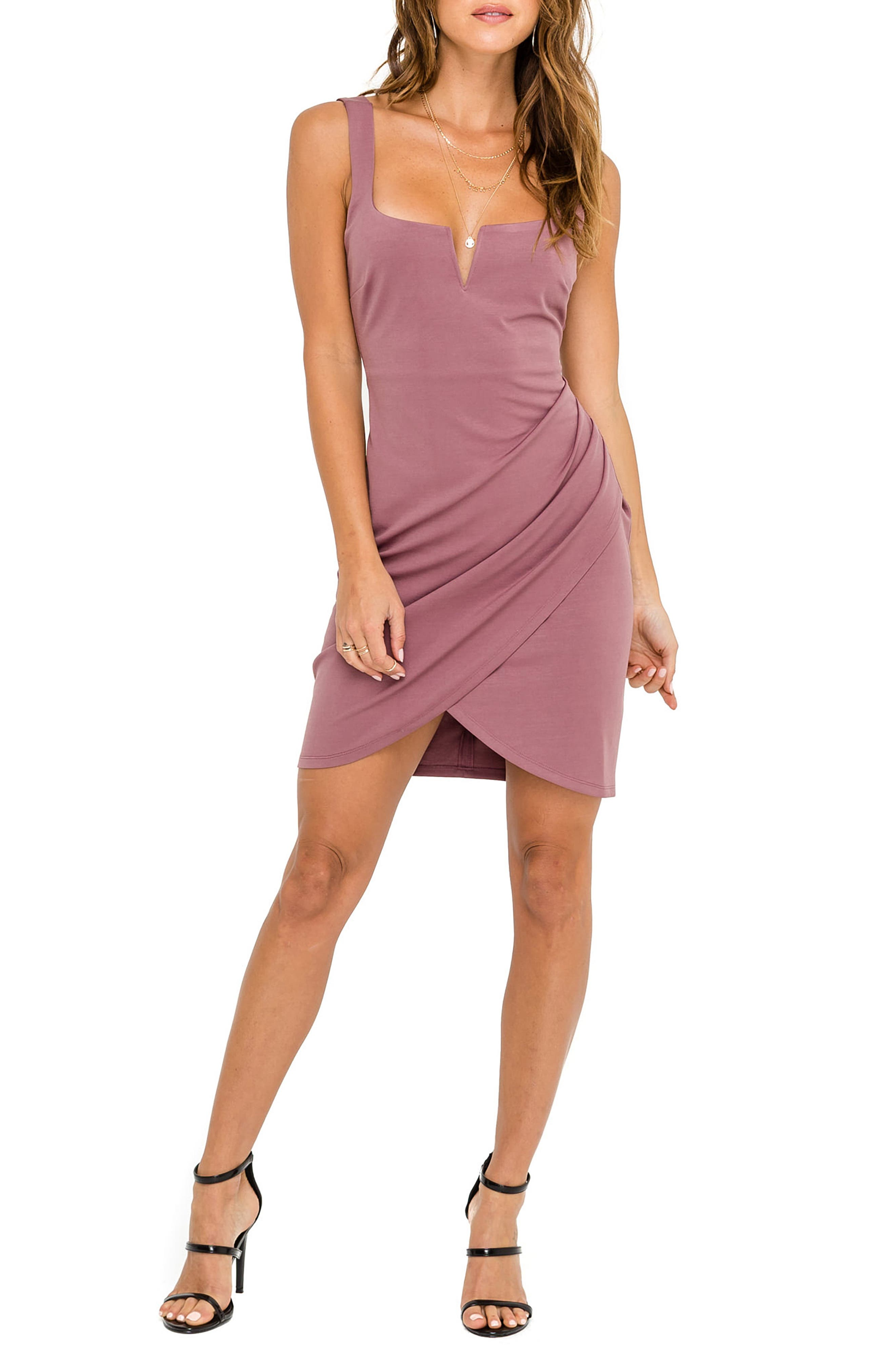 Astr The Label Ruched Minidress, Pink