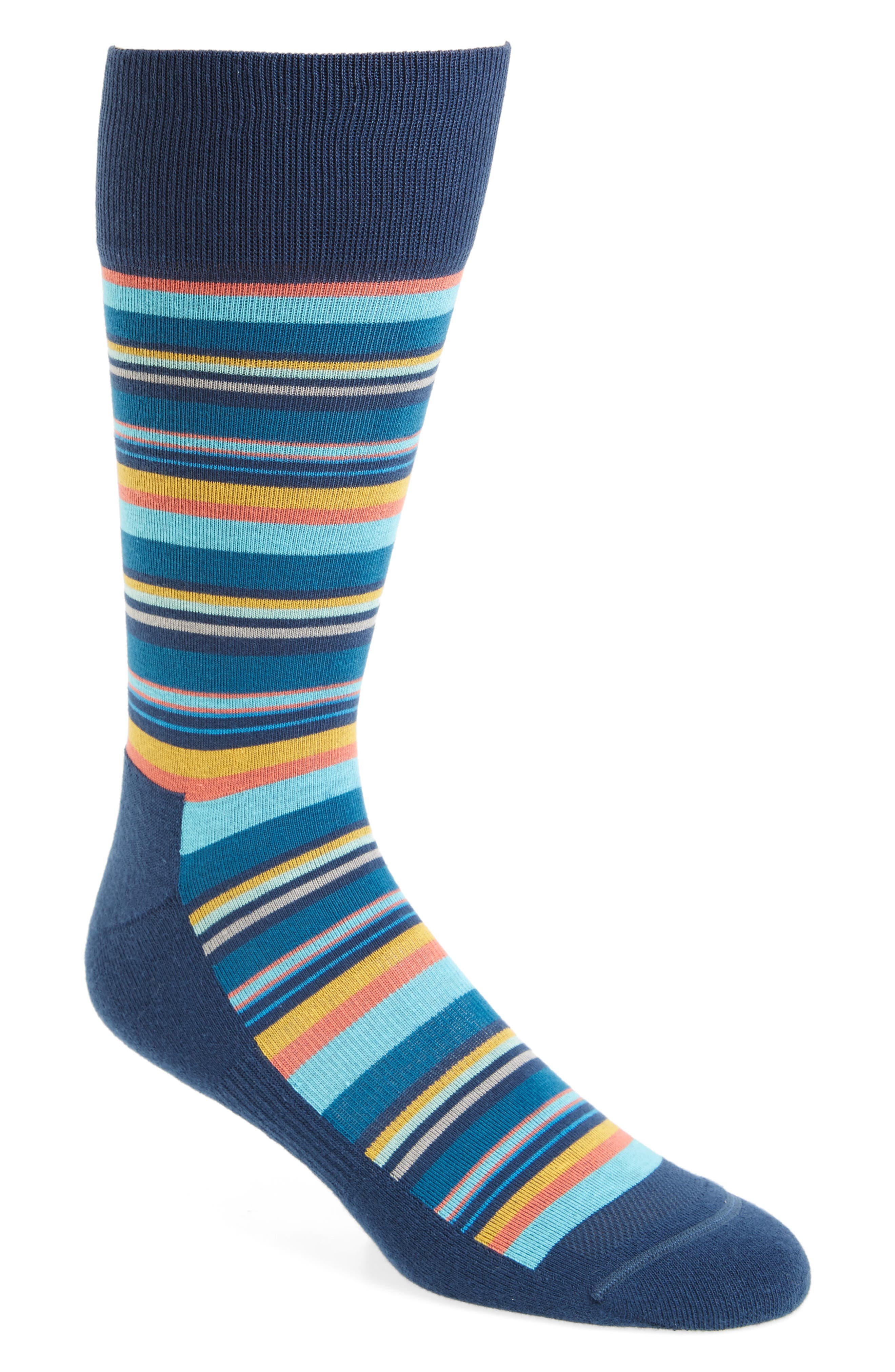 Variegated Stripe Socks,                             Main thumbnail 1, color,                             NAVY/ ORANGE