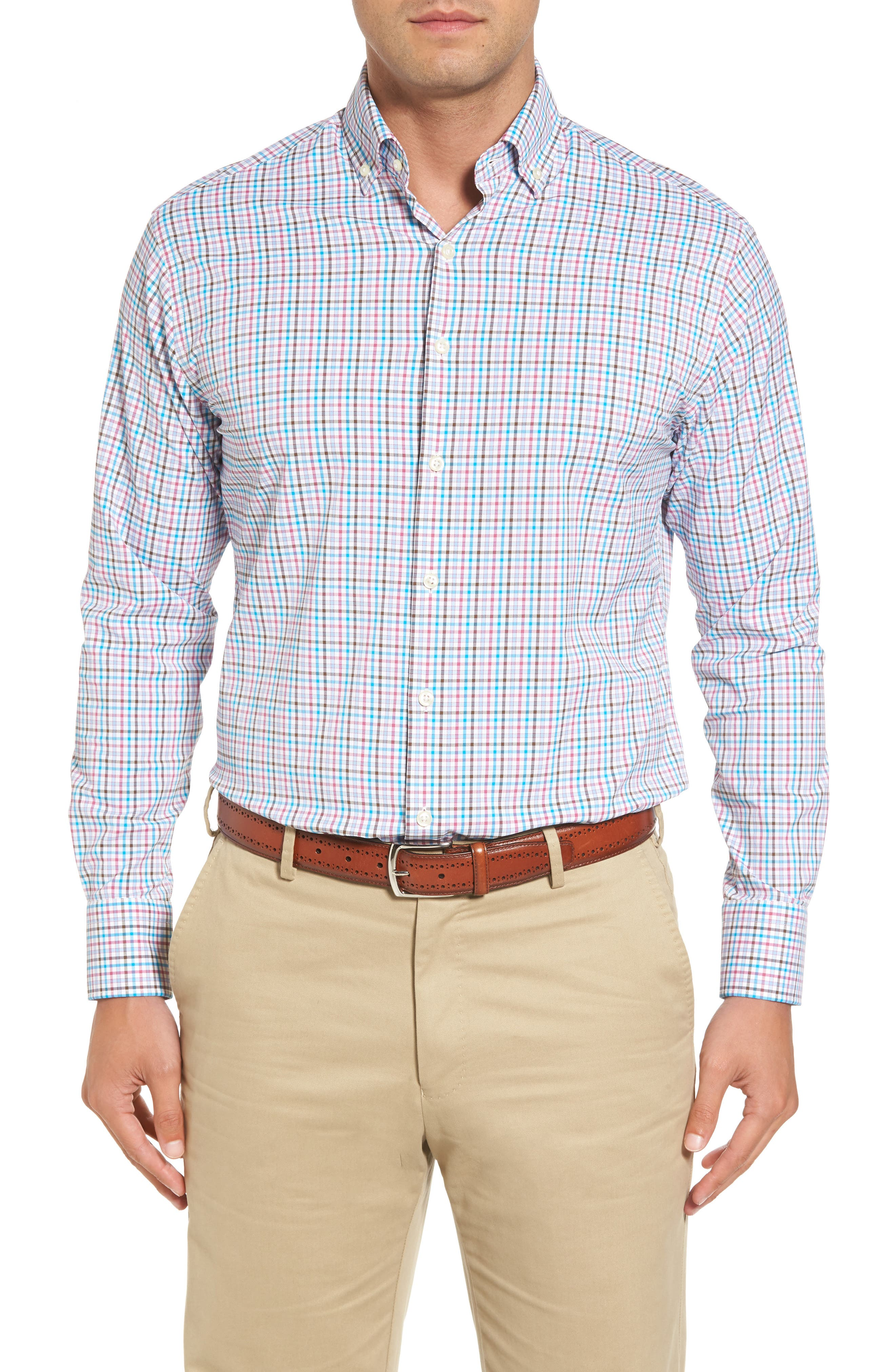 Post Regular Fit Check Performance Sport Shirt,                         Main,                         color, 100