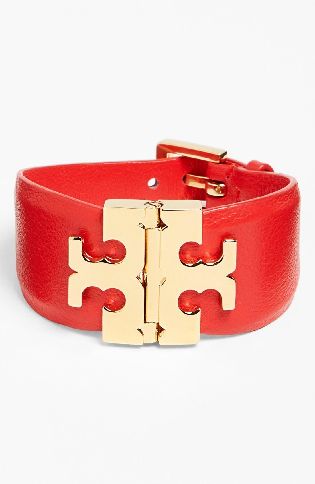 Wide T-Hinge Leather Bracelet,                             Main thumbnail 4, color,