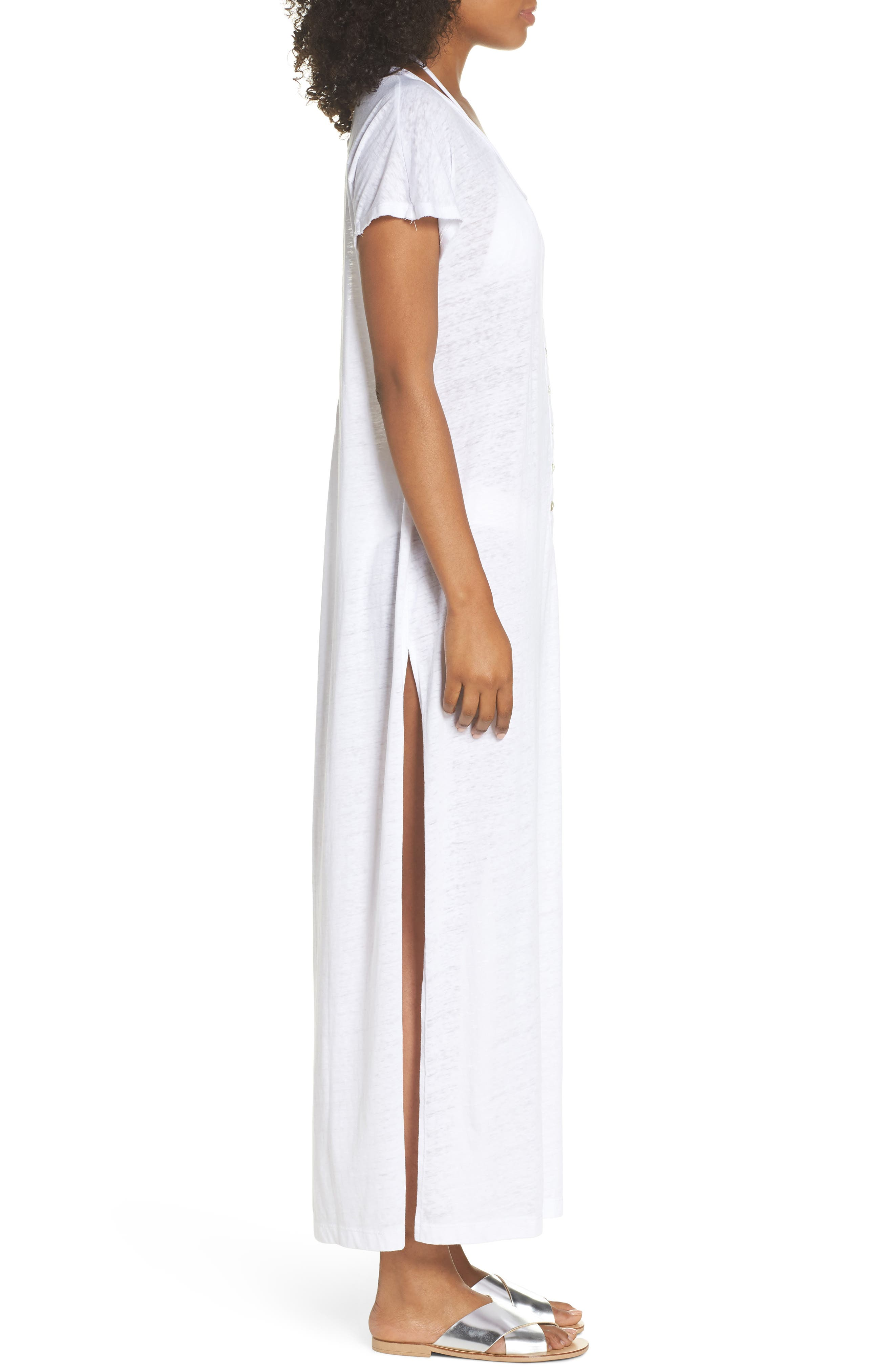 Henley Cover-Up Maxi Dress,                             Alternate thumbnail 3, color,                             100