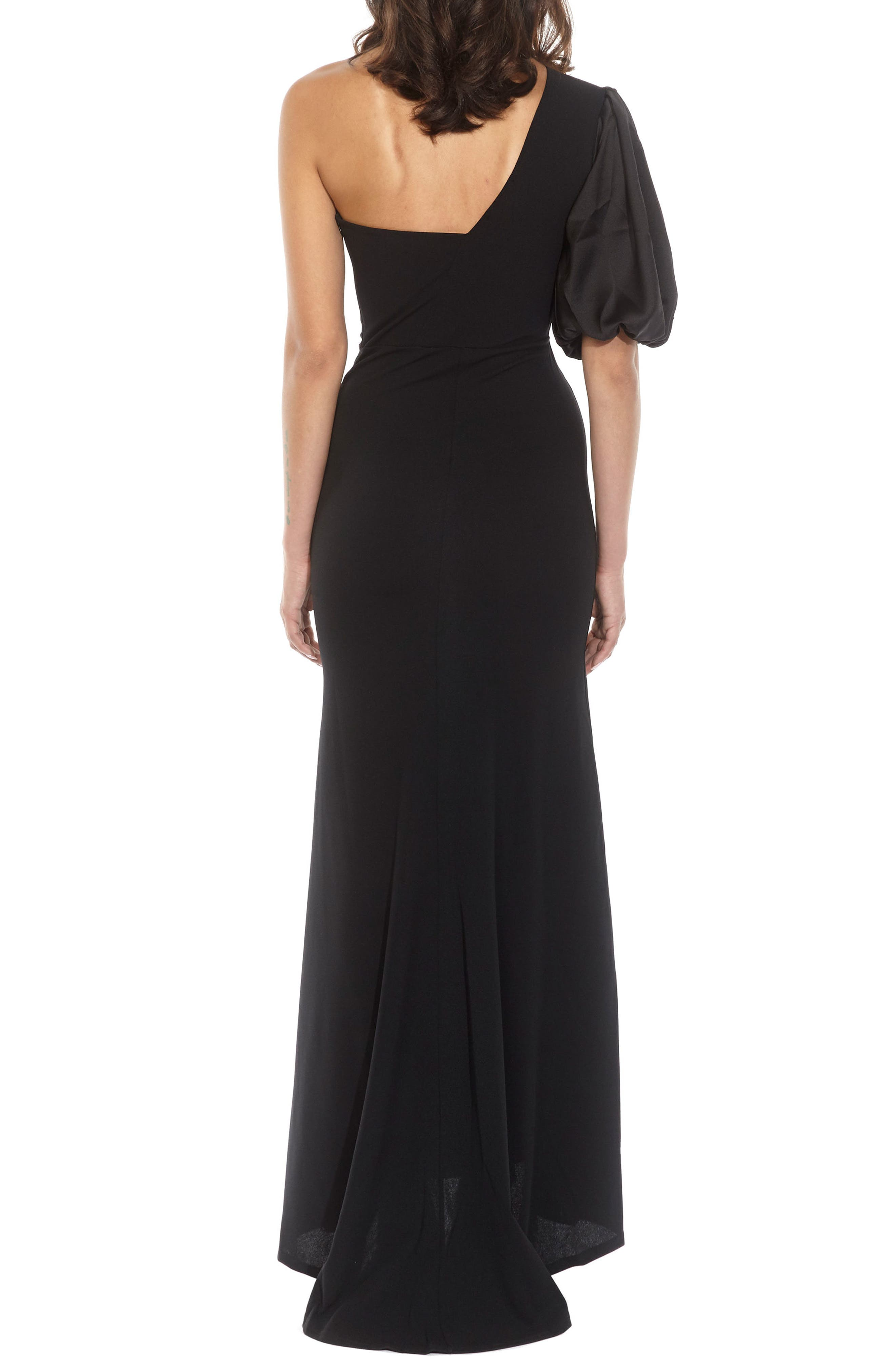 Nawell One-Shoulder Puff Sleeve Gown,                             Alternate thumbnail 2, color,                             001