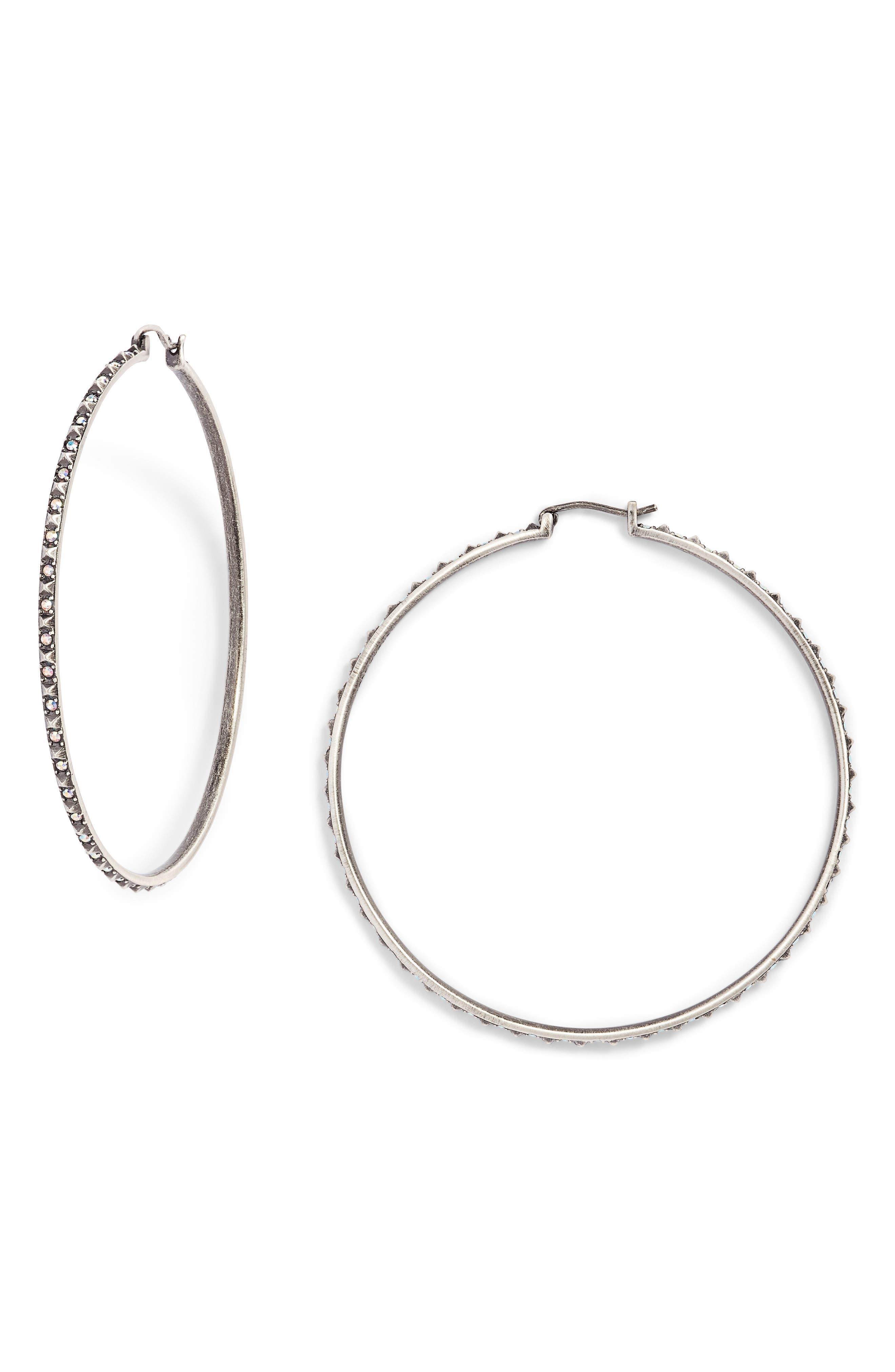 Annemarie Crystal Studded Hoop Earrings, Main, color, 040