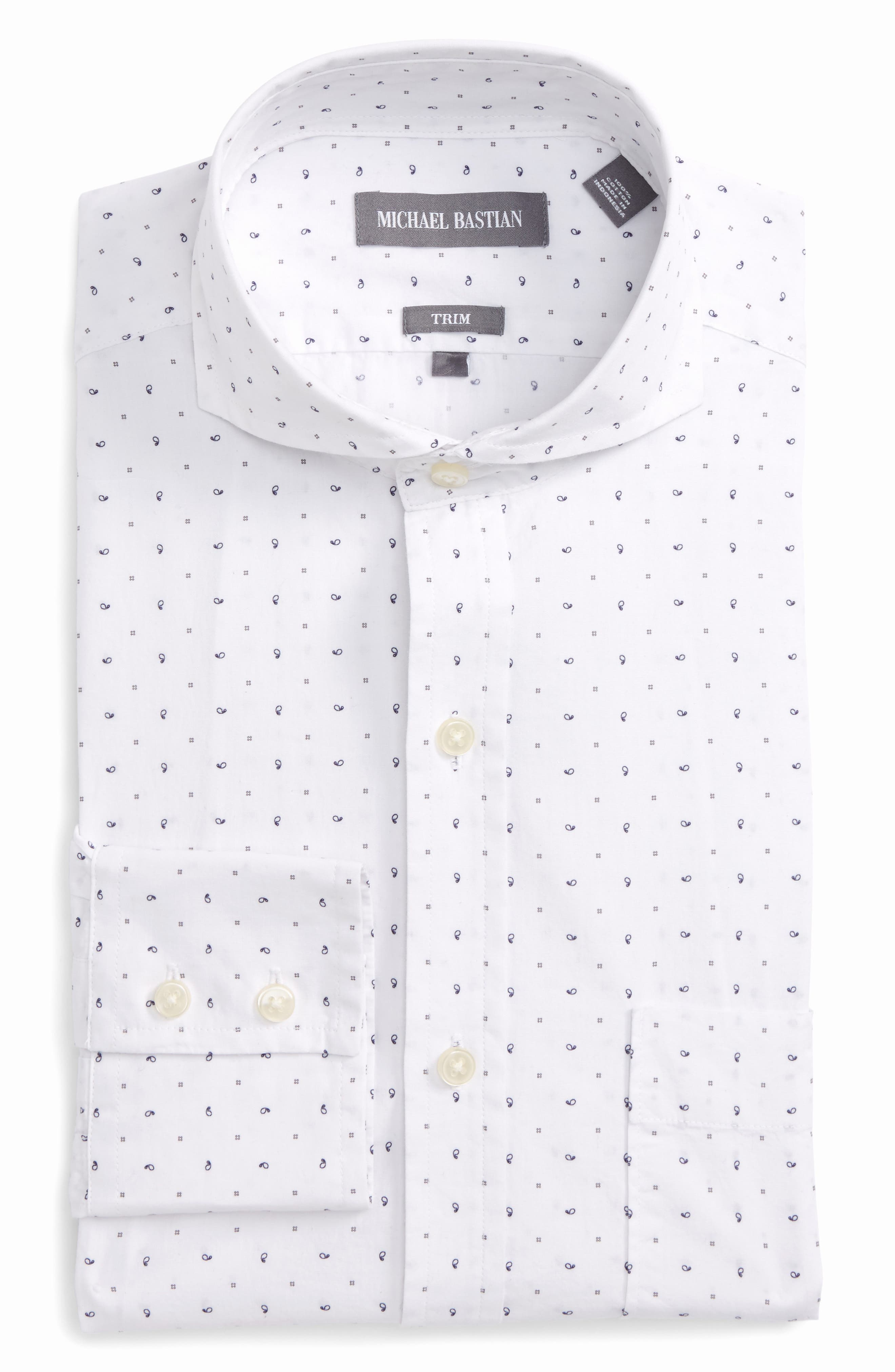 Trim Fit Print Dress Shirt,                             Main thumbnail 1, color,                             429