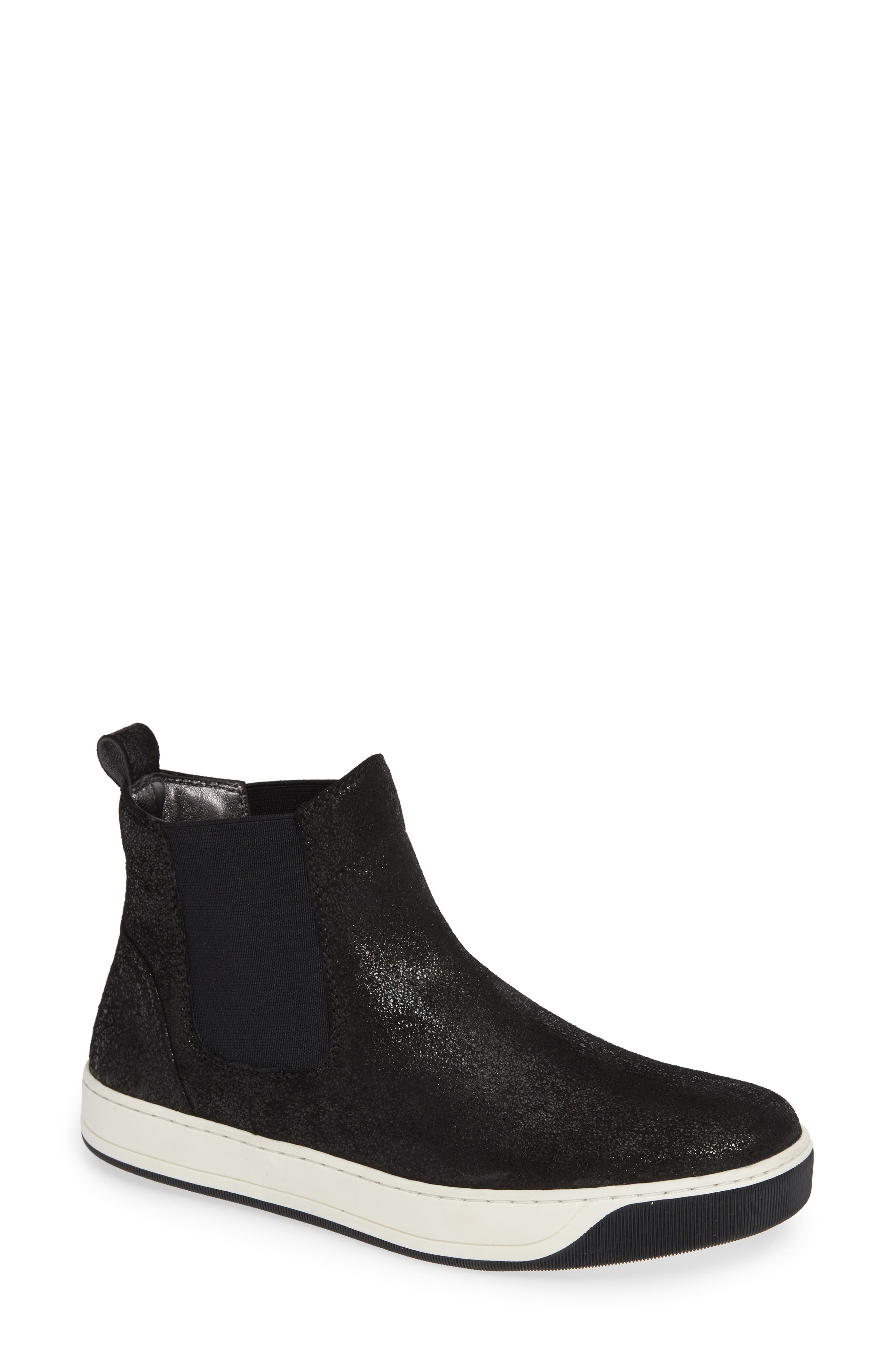 Erica High Top Sneaker, Main, color, BLACK LEATHER