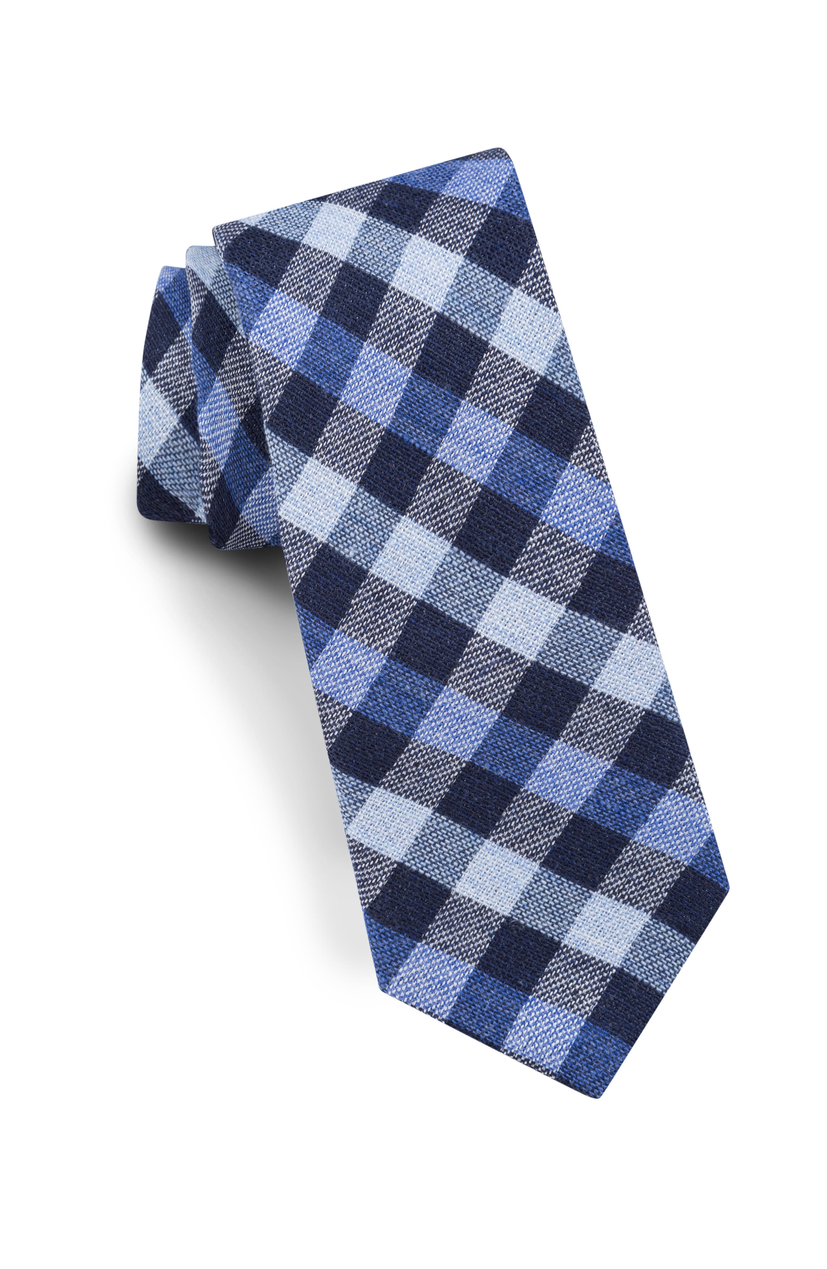 Check Silk & Wool Tie,                             Main thumbnail 1, color,                             NAVY