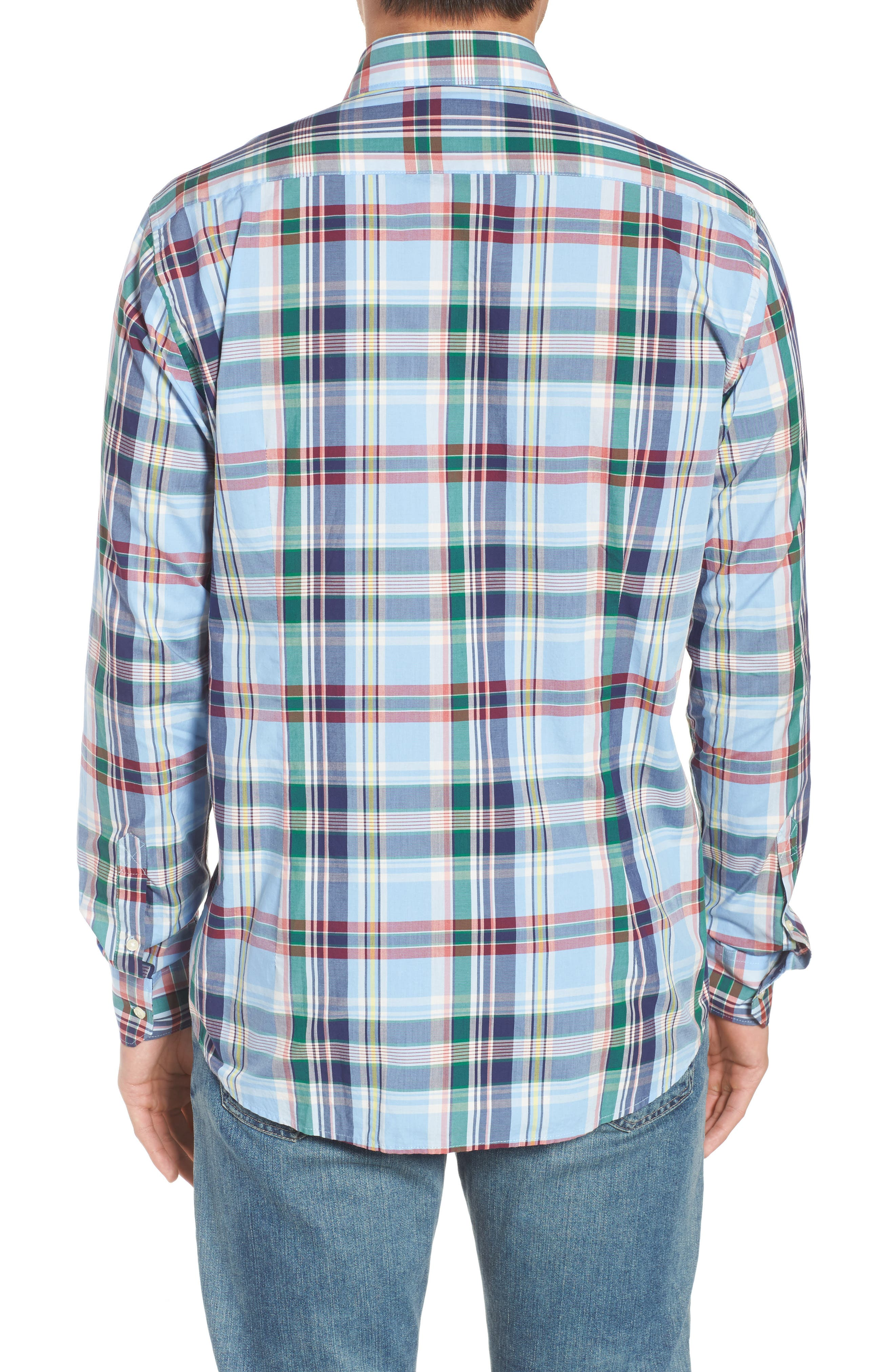 Jeff Trim Fit Plaid Sport Shirt,                             Alternate thumbnail 2, color,                             450