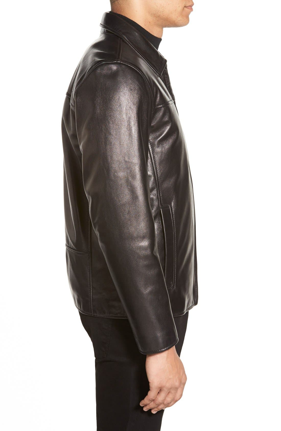 Leather Jacket with Removable Liner,                             Alternate thumbnail 3, color,                             001