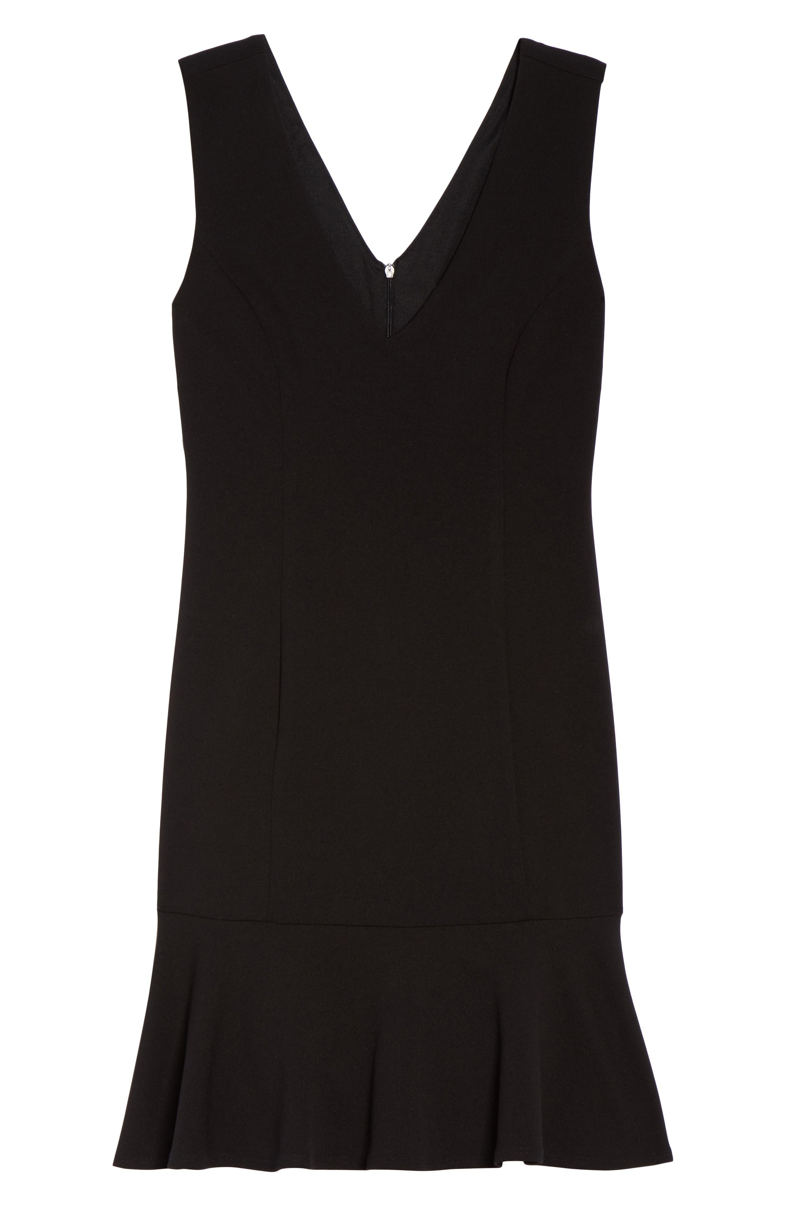 V-Neck Ruffle Hem Sheath Dress,                             Alternate thumbnail 6, color,                             001