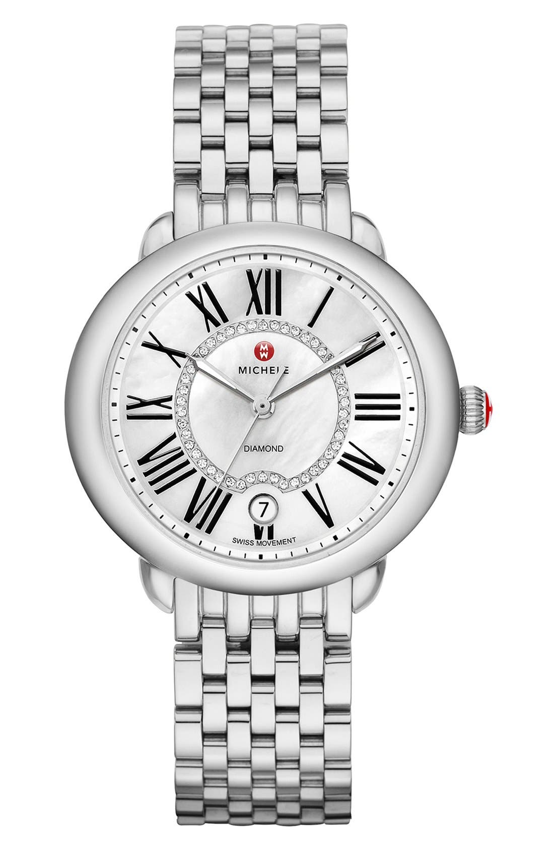 Serein 16 Diamond Dial Round Watch Head, 34mm x 36mm,                             Alternate thumbnail 5, color,                             SILVER