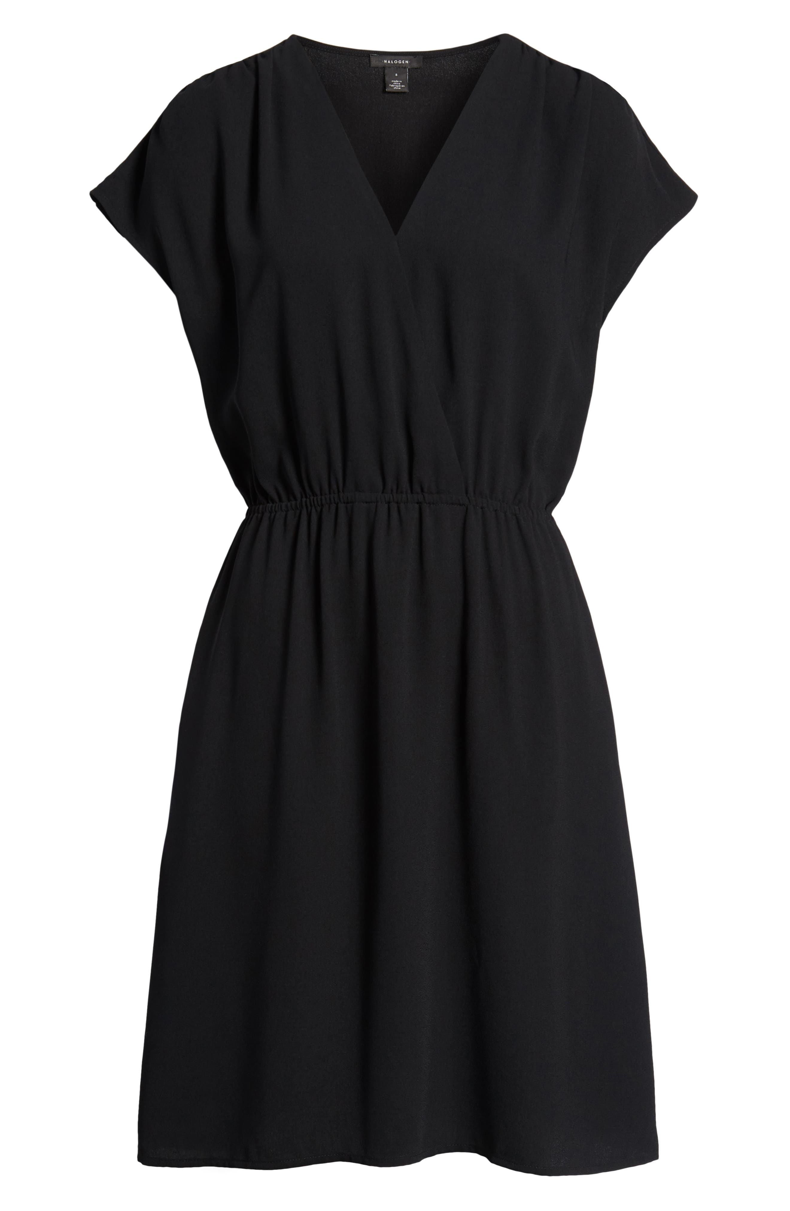 HALOGEN<SUP>®</SUP>, Faux Wrap Dress, Alternate thumbnail 7, color, BLACK
