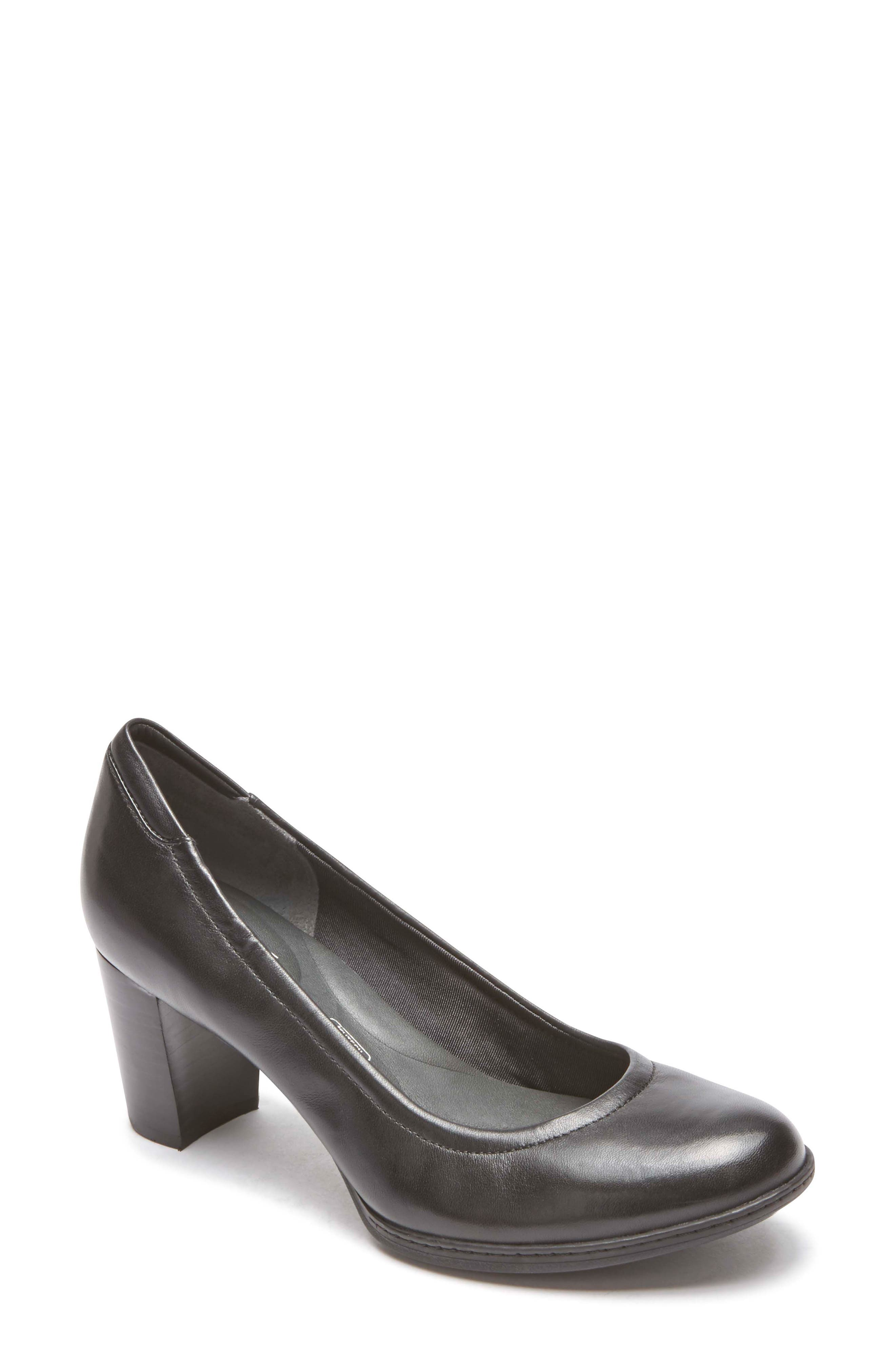 Chaya Round Toe Pump,                         Main,                         color, BLACK LEATHER