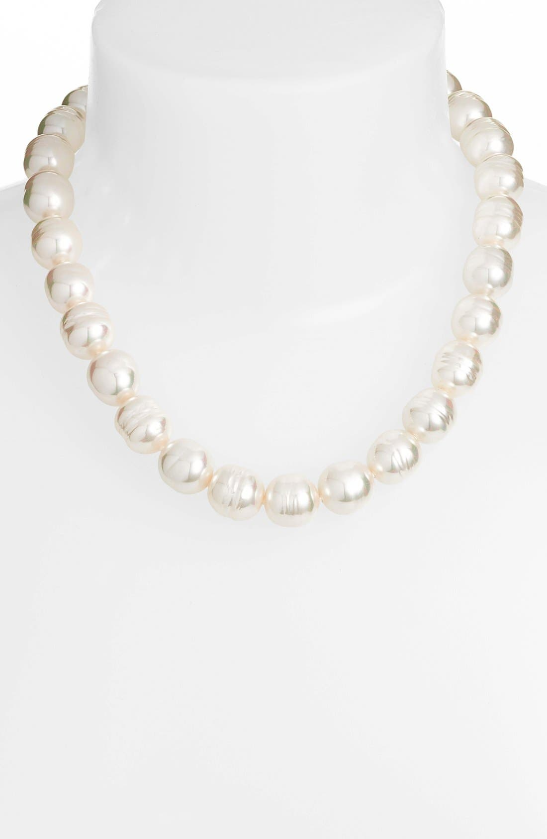 14mm Baroque Simulated Pearl Strand Necklace,                             Main thumbnail 1, color,                             100