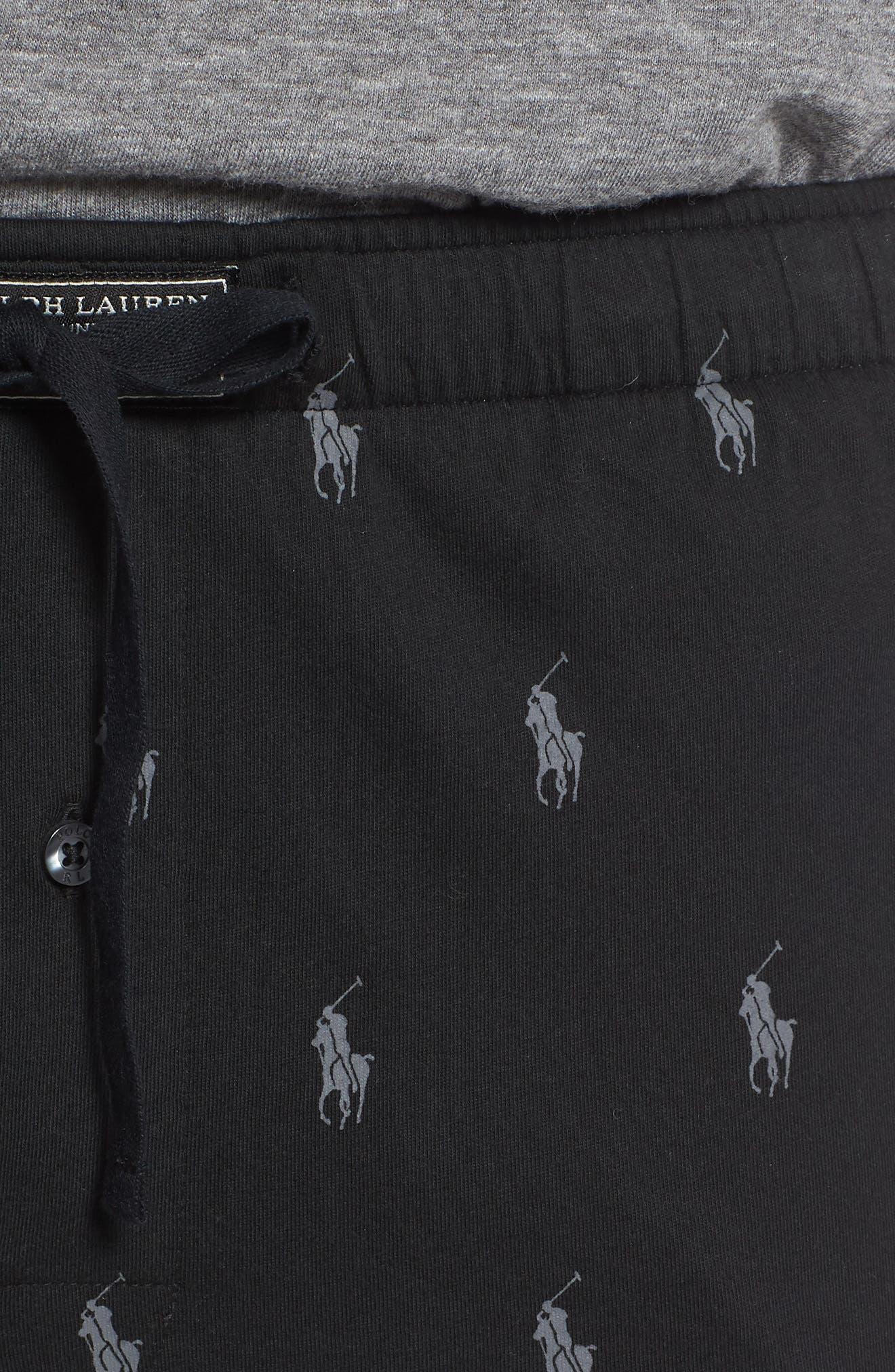 Pony Print Lounge Pants,                             Alternate thumbnail 4, color,                             POLO BLACK