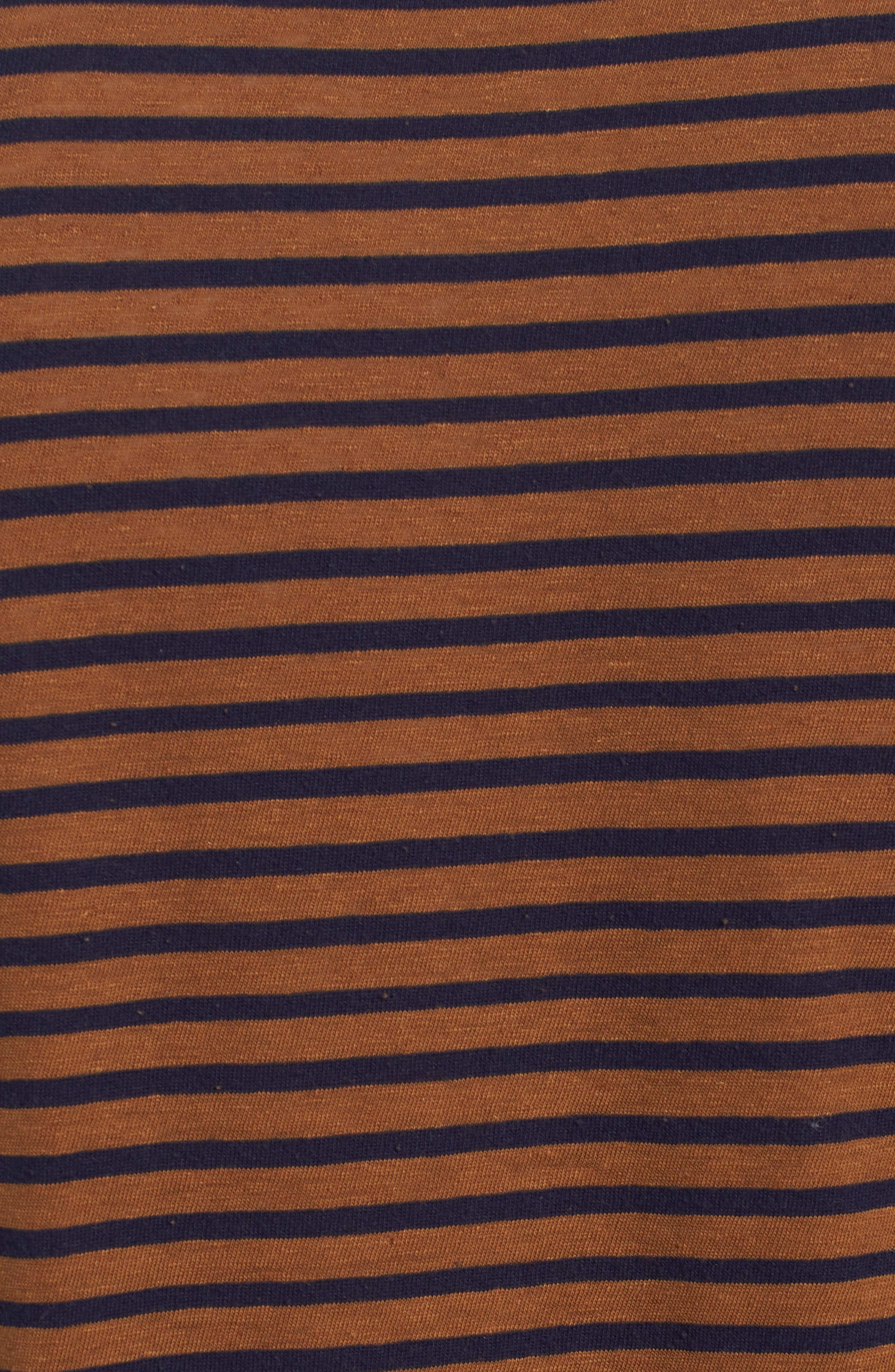 Theo Striped Cotton & Linen T-Shirt,                             Alternate thumbnail 5, color,                             BRONZE CLAY/ NAVY
