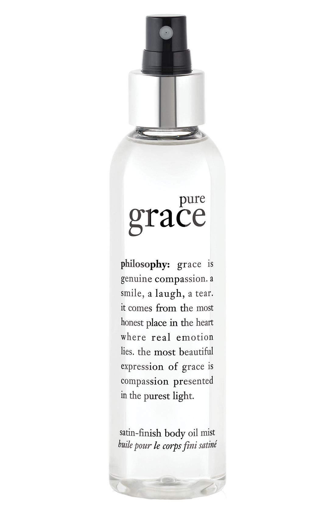 'pure grace' satin-finish body oil mist,                             Main thumbnail 1, color,                             NO COLOR