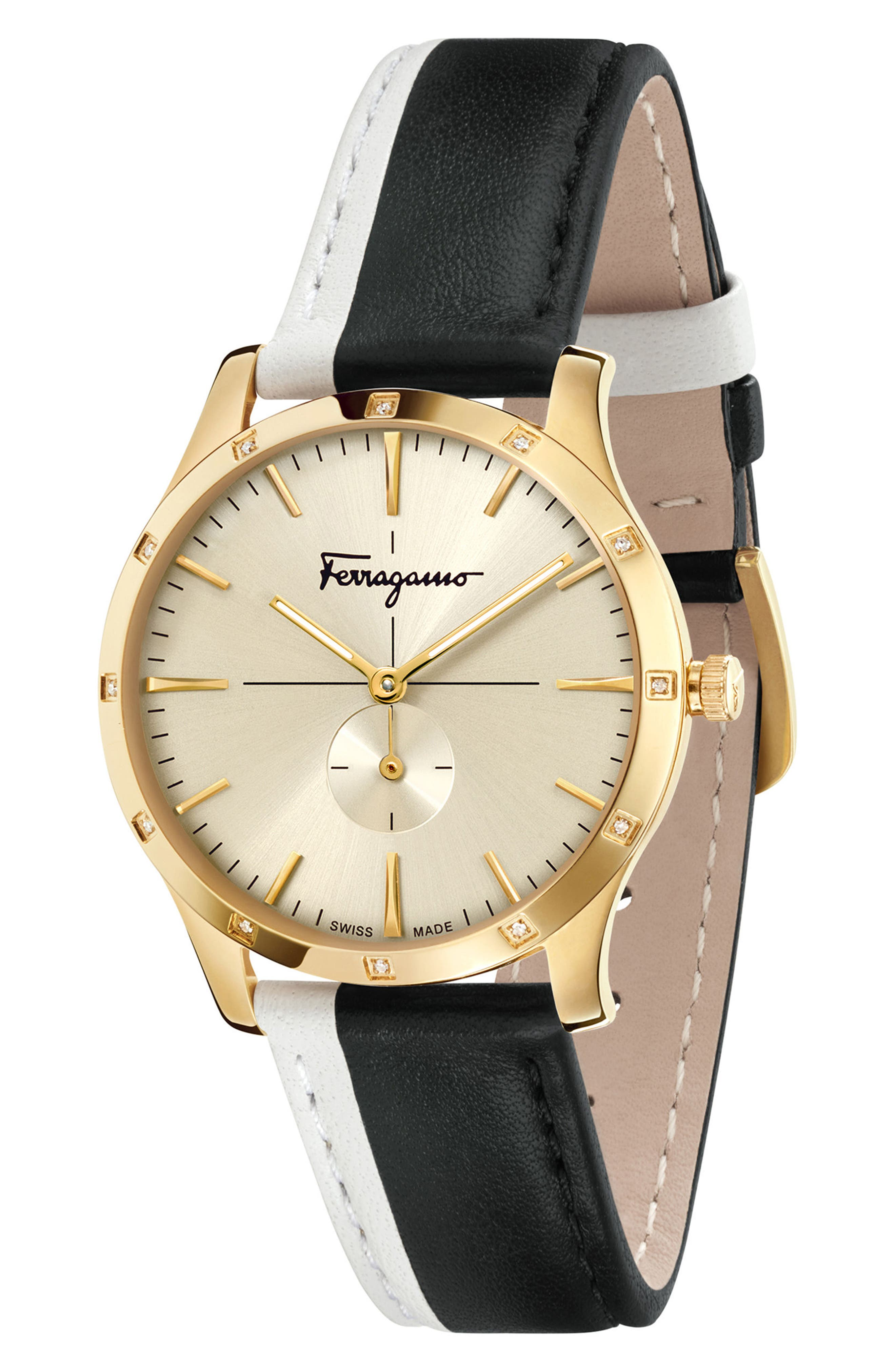 Slim Formal Leather Strap Watch, 35mm,                             Alternate thumbnail 4, color,                             SILVER/ GREY/ GOLD