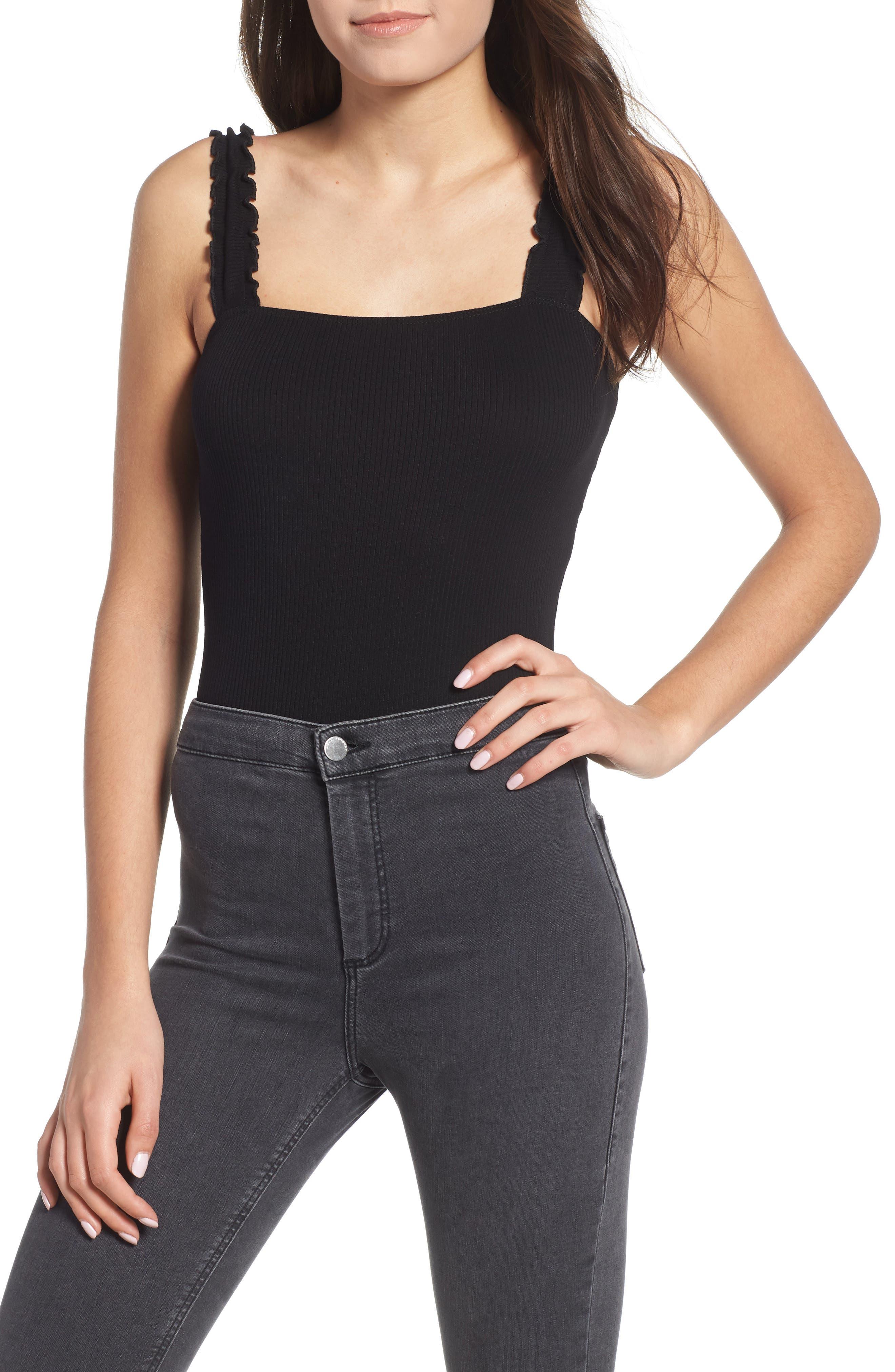 Ruffle Strap Bodysuit,                         Main,                         color, 001