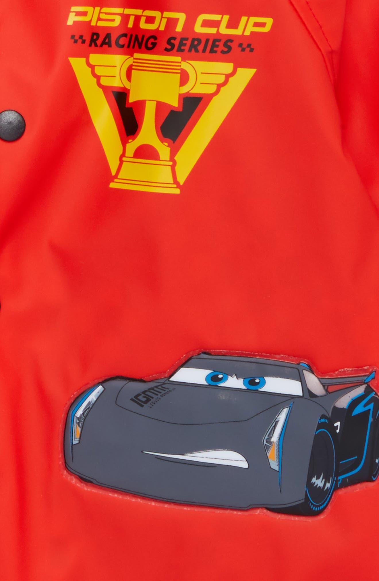 Lightning McQueen Hooded Raincoat,                             Alternate thumbnail 3, color,                             RED