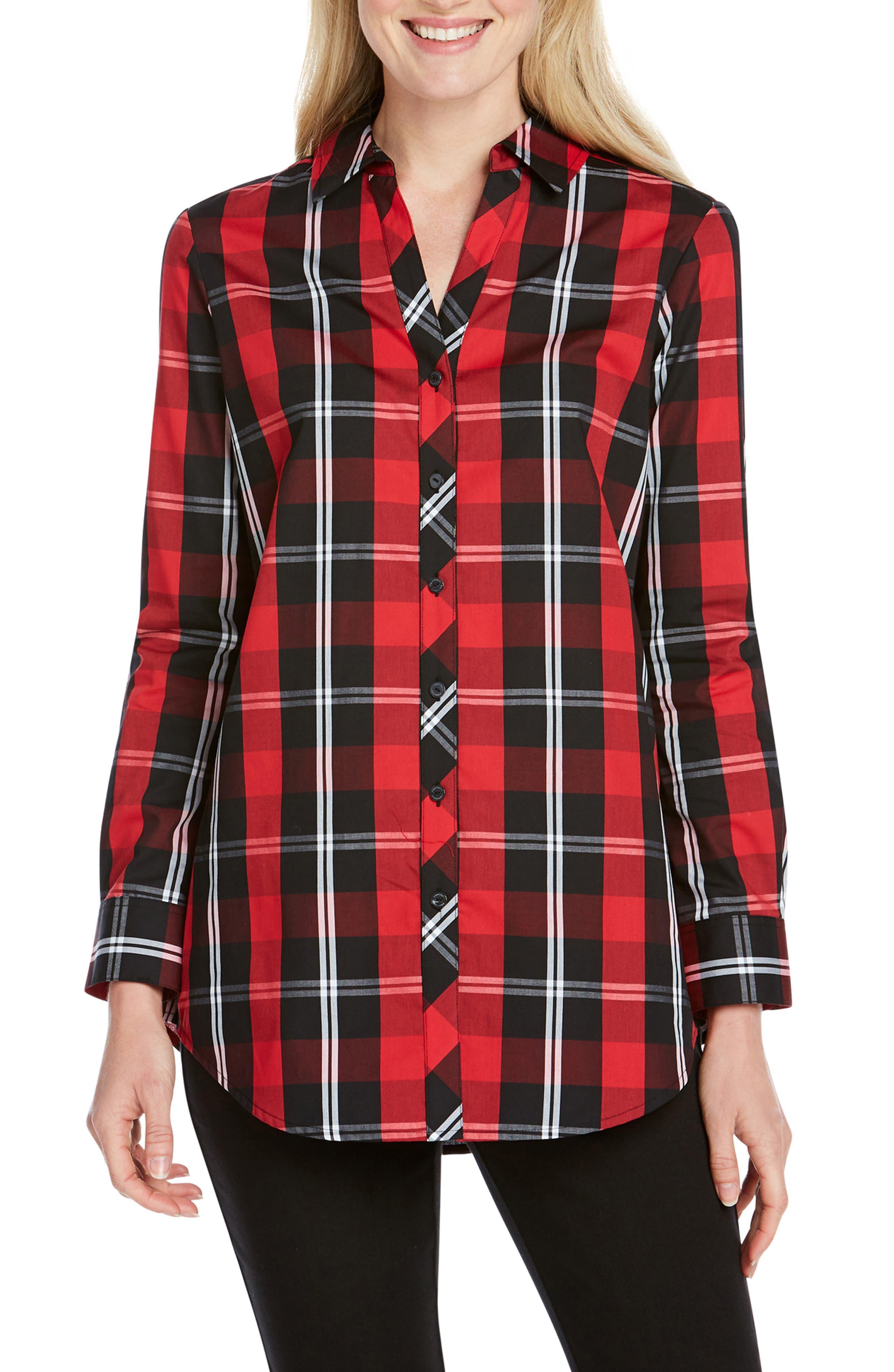 Foxcroft Faith Mackenzie Tartan Shirt, Red