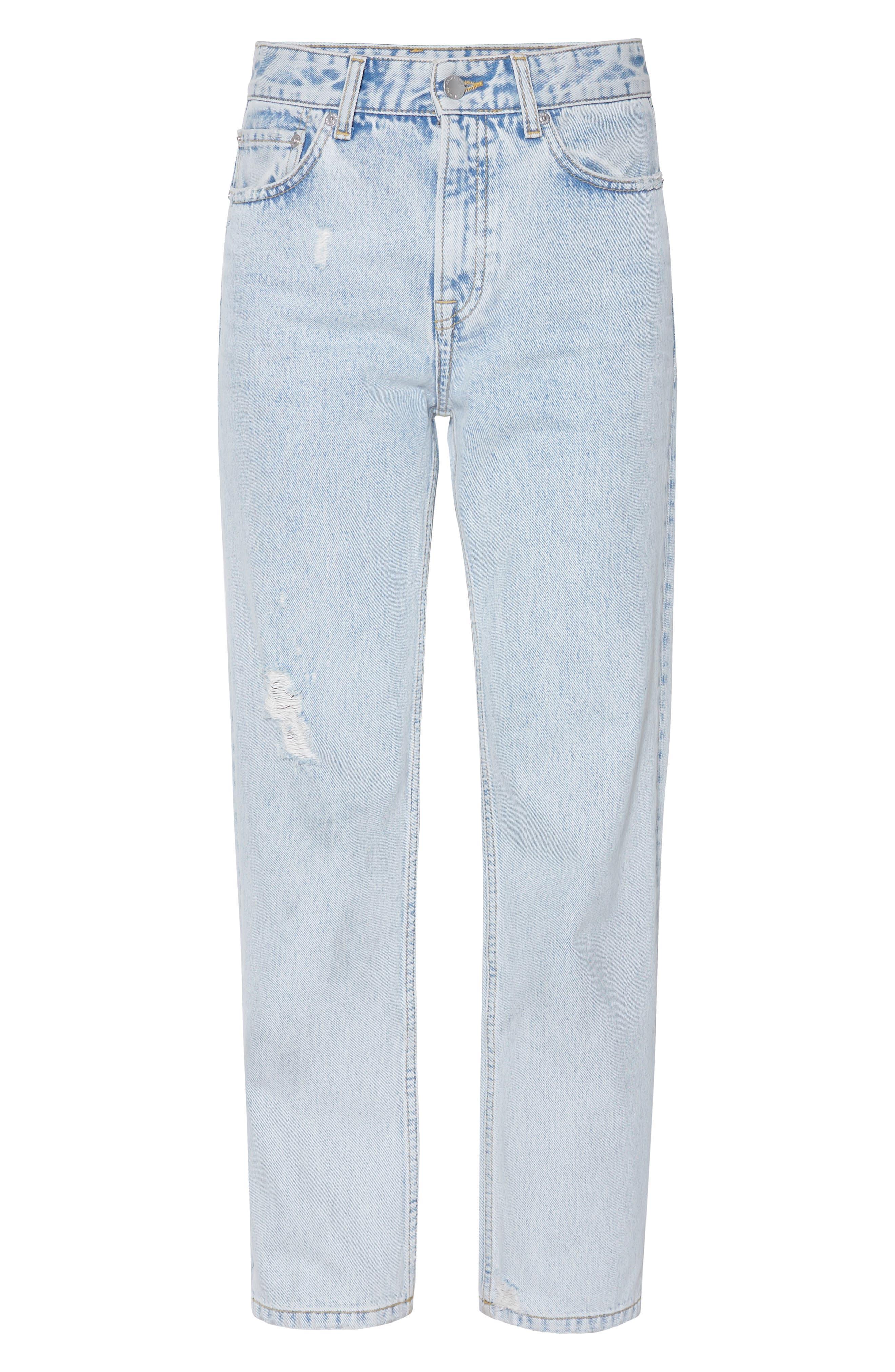 Etta Straight Leg Jeans,                             Alternate thumbnail 4, color,                             LIGHT BLUE