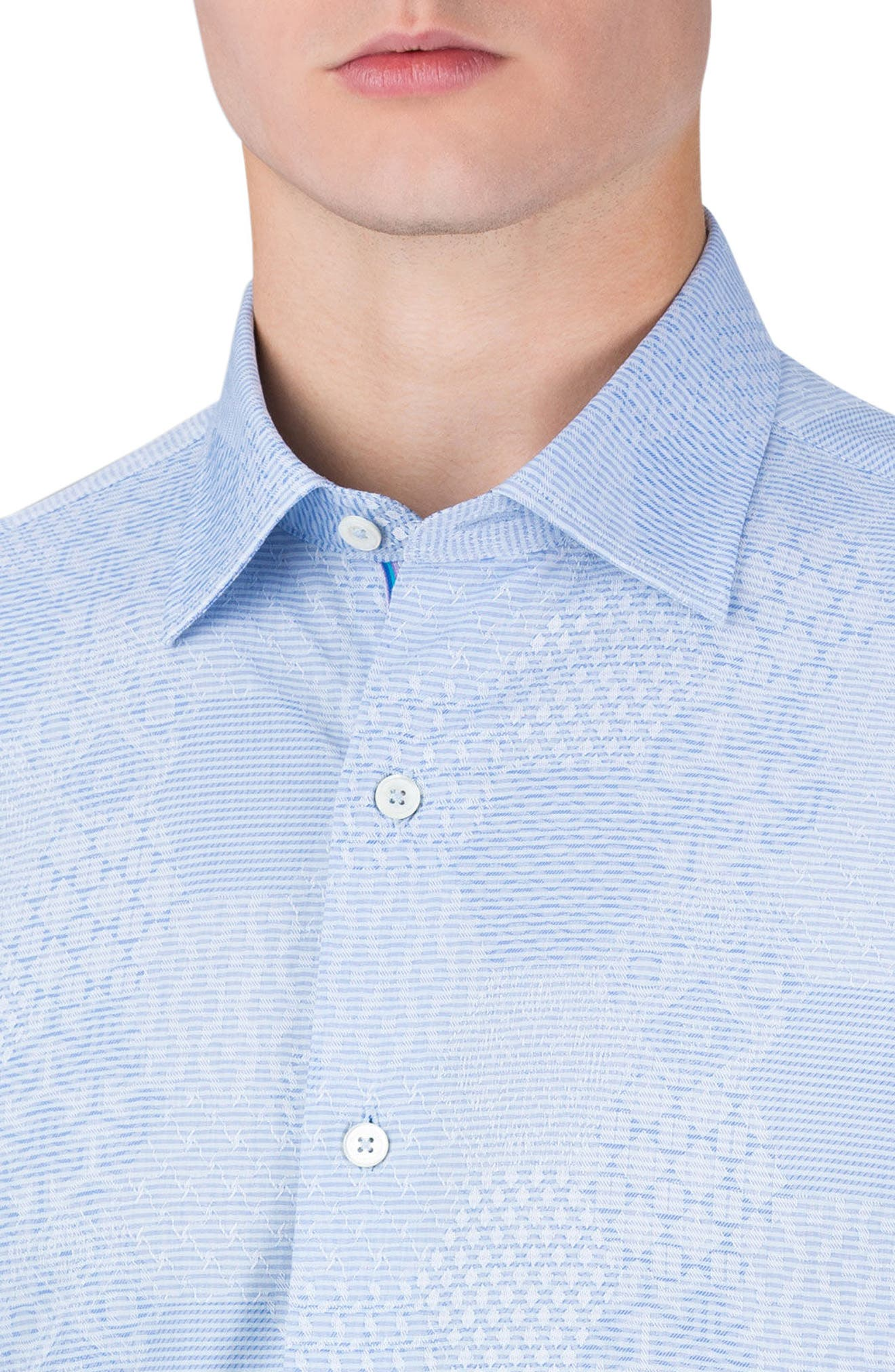 Shaped Fit Textured Sport Shirt,                             Alternate thumbnail 3, color,                             459