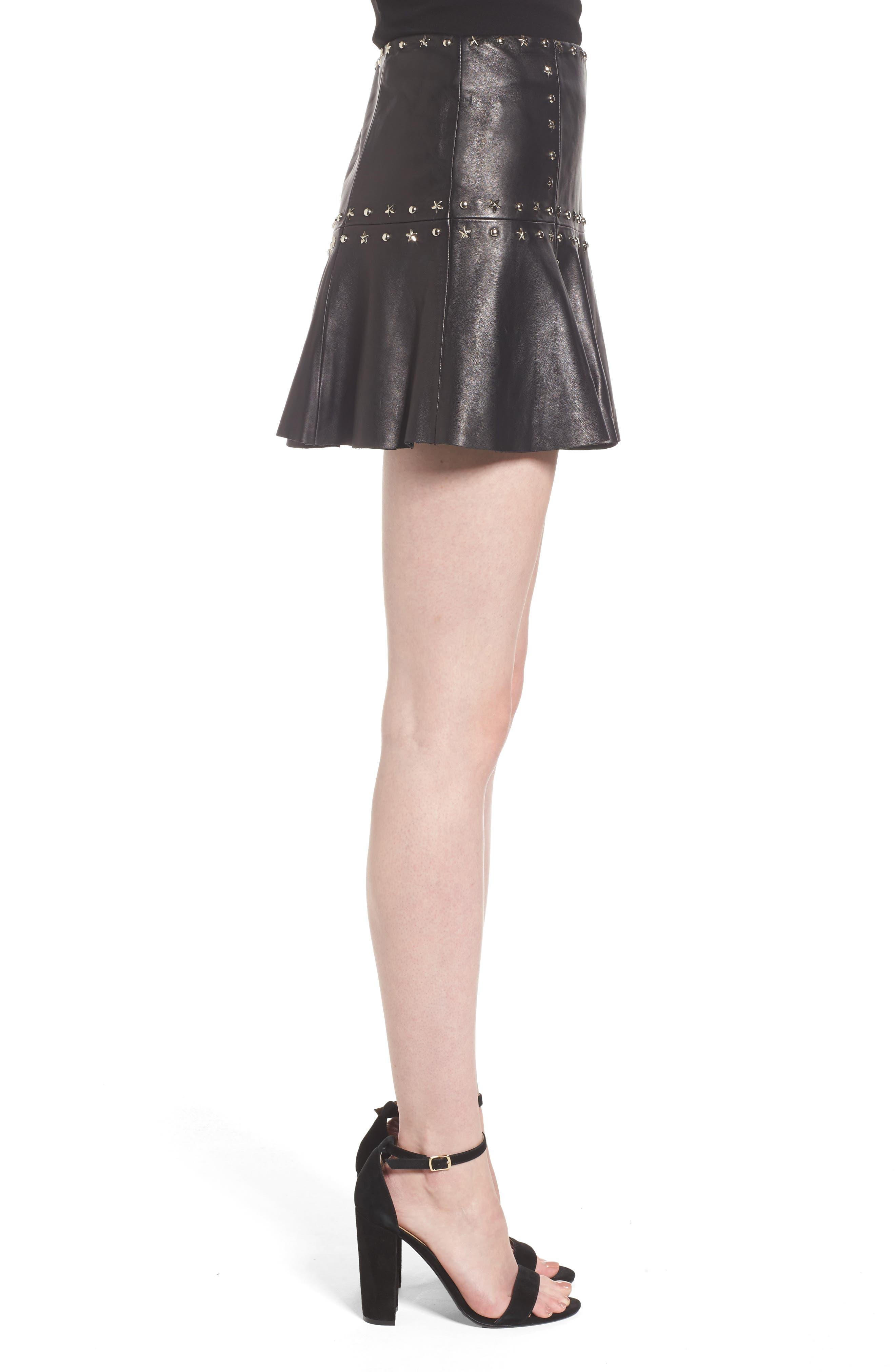 Grommet Suede Miniskirt,                             Alternate thumbnail 3, color,